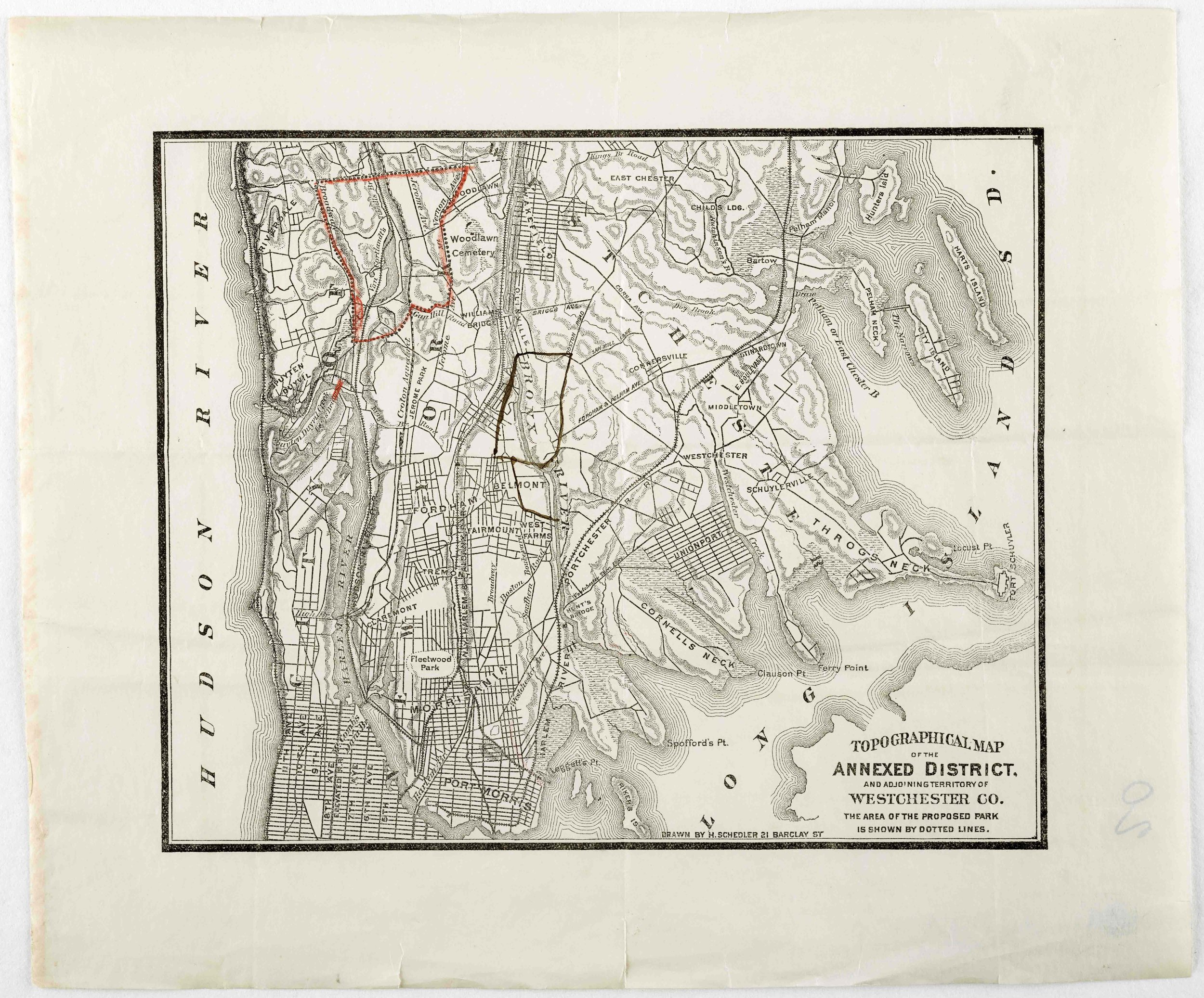 The areas outlined on these maps would eventually be acquired by the city in 1884.