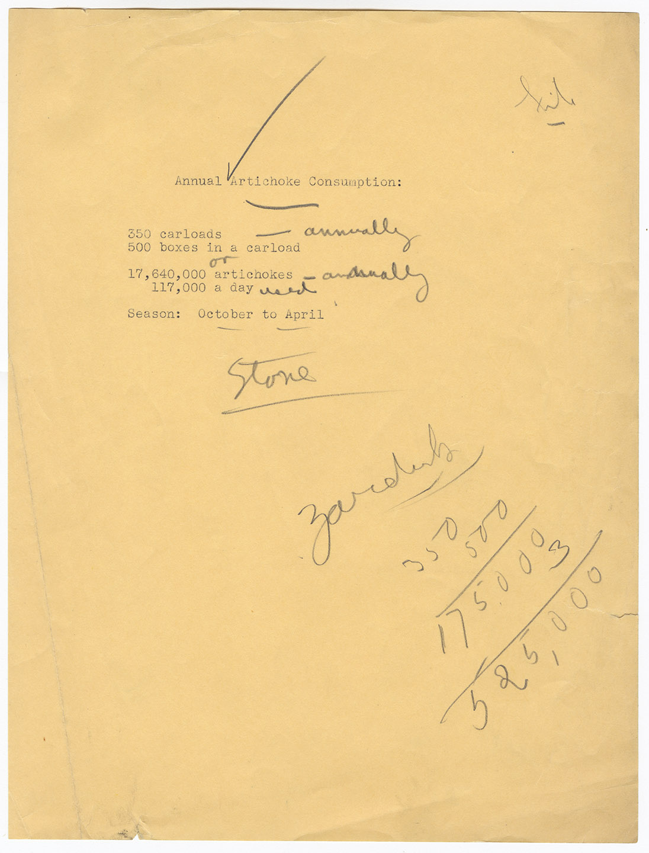 New York City artichoke market summary, 1935.Mayor LaGuardia Papers, NYC Municipal Archives.