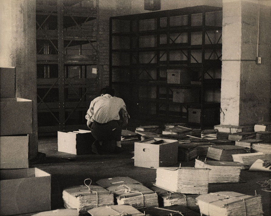Storage room, Department of Records and Information Services. Undated photograph: Municipal Archives collection, NYC Municipal Archives.