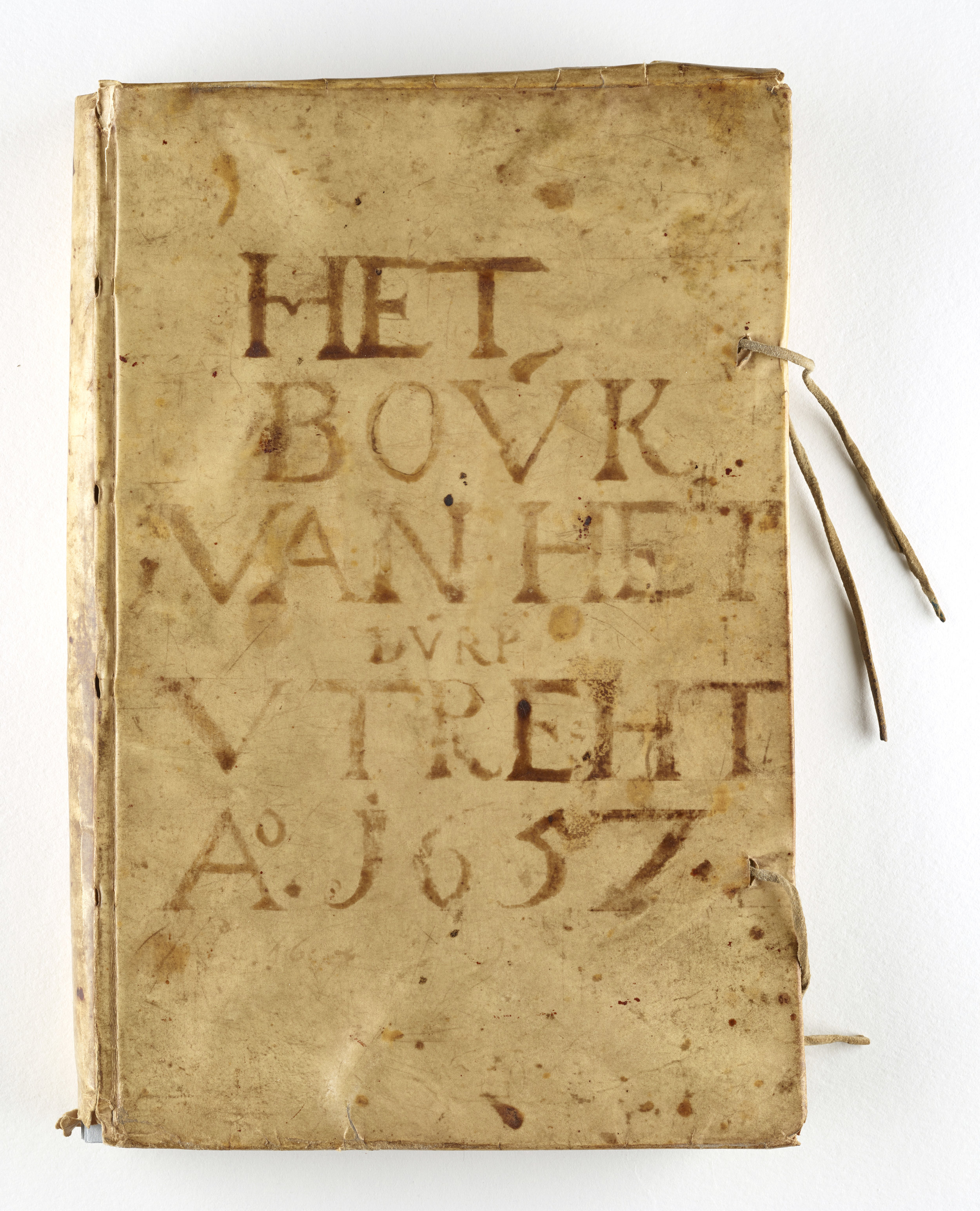 """The Book of the Village Utrecht,"" original vellum cover of the volume now known as New Utrecht Liber A, a colonial volume from Brooklyn.  NYC Municipal Archives."
