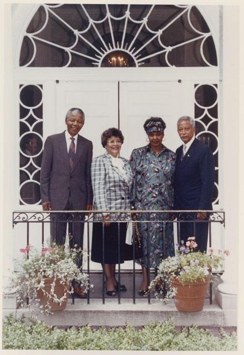Nelson Mandela, Joyce Dinkins, Winnie Madikizela-Mandela, and Mayor Dinkins at Gracie Mansion, June 23, 1990. Mayor David N. Dinkins Photograph Collection, NYC Municipal Archives.