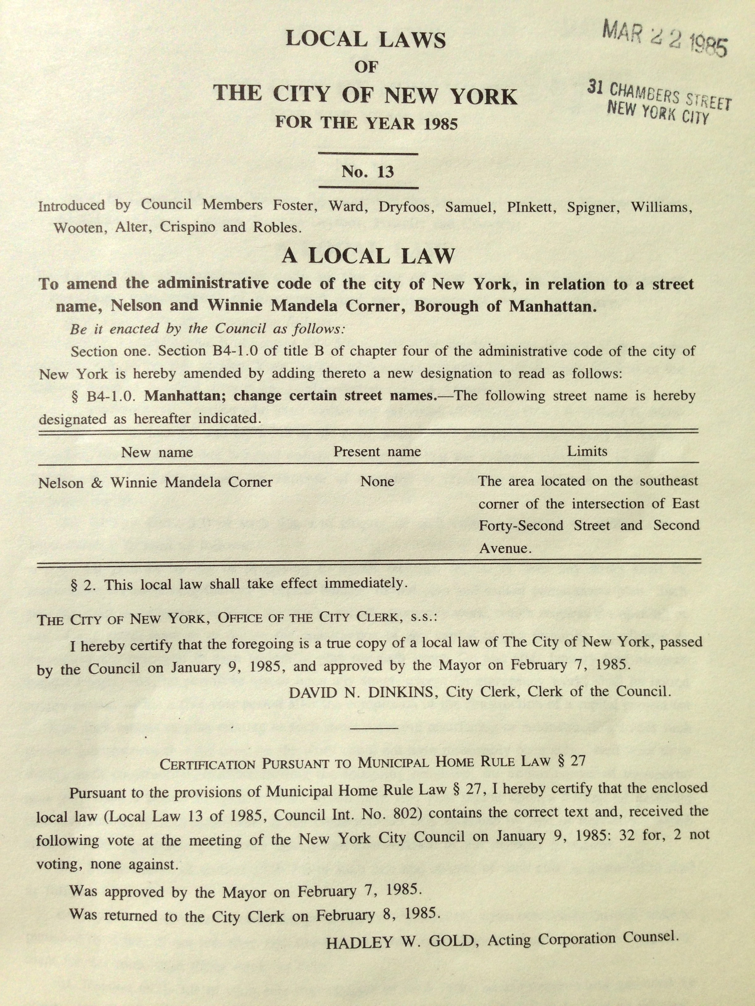 """Local Law No. 13 of 1985 designated that the area located on the southeast corner of East 42nd Street and Second Ave was to be named """"Nelson and Winnie Mandela Corner.""""  Mayor Edward I. Koch Local Laws, NYC Municipal Library collection."""