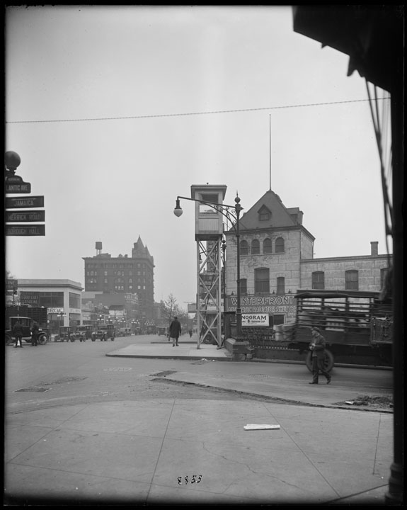 Traffic towers along Bedford Avenue at Atlantic Avenue, 1924. Bridges, Plants, & Structures collection, NYC Municipal Archives.
