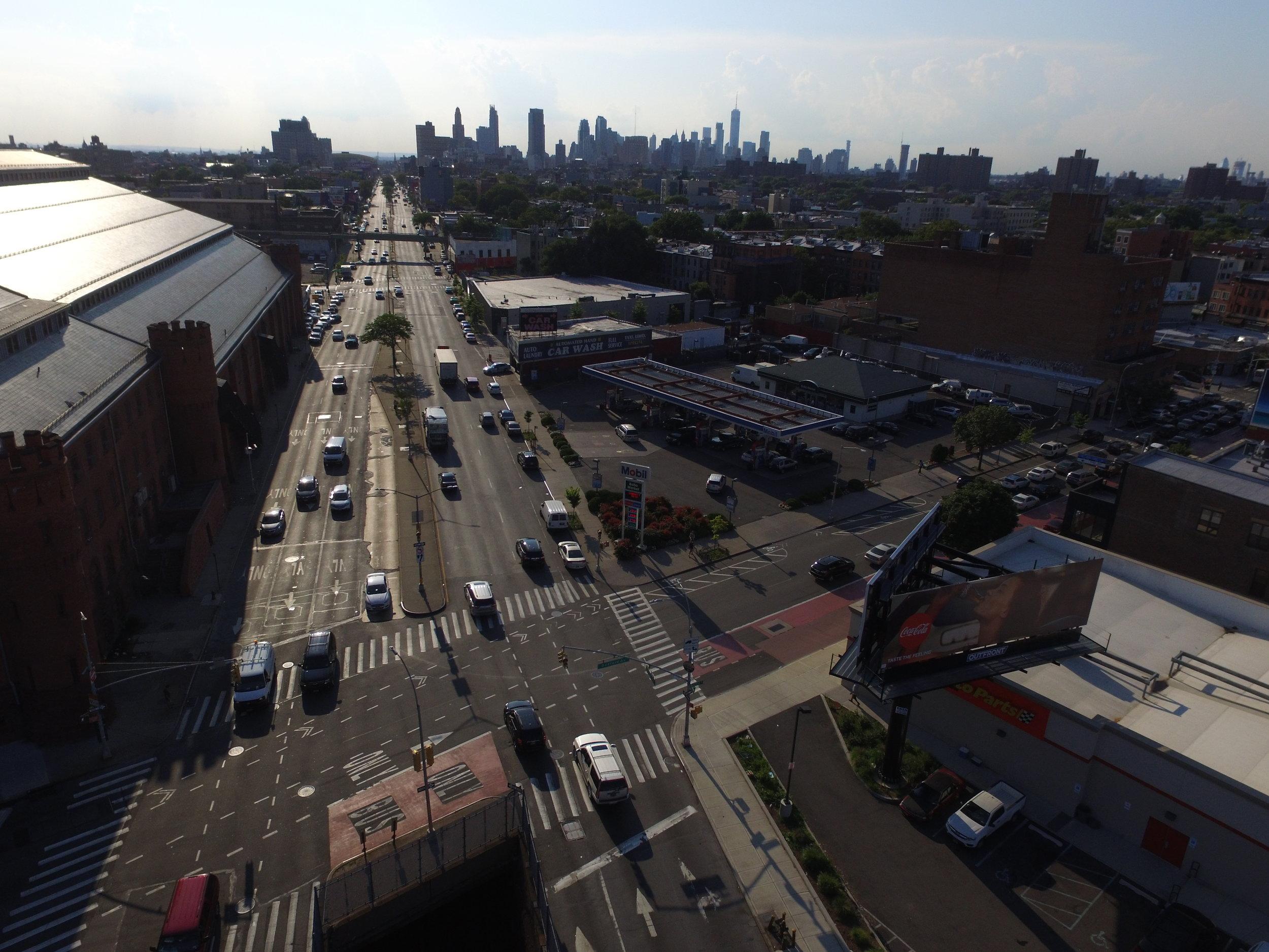 Atlantic Avenue at Bedford Avenue looking west.Photo: Darryl Montgomery, 2017.