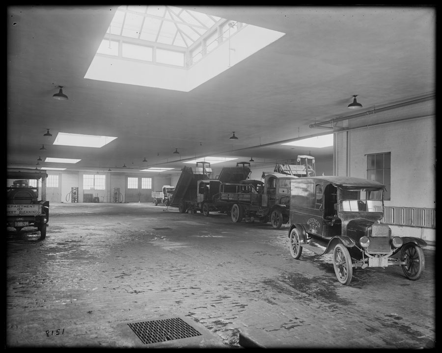 Inside completed Department of Street Cleaning housing station, Atlantic Avenue and Schenectady, 1923. Bridges, Plants, & Structures collection, NYC Municipal Archives.
