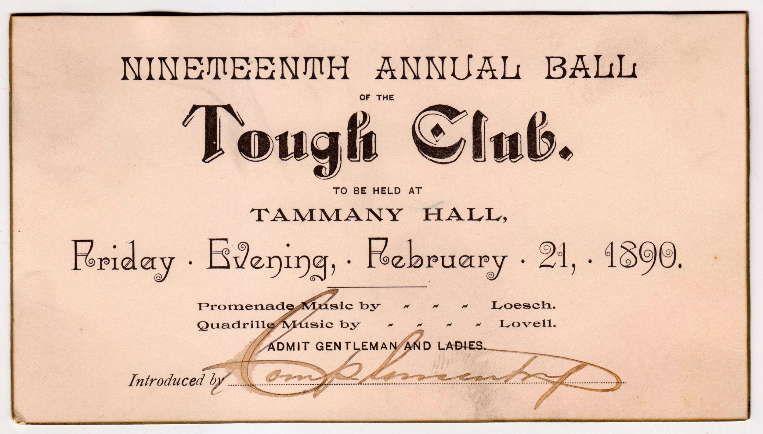 Invitation to the annual ball of the Tough Club, 1890. Mayor Hugh J. Grant subject files, NYC Municipal Archives.