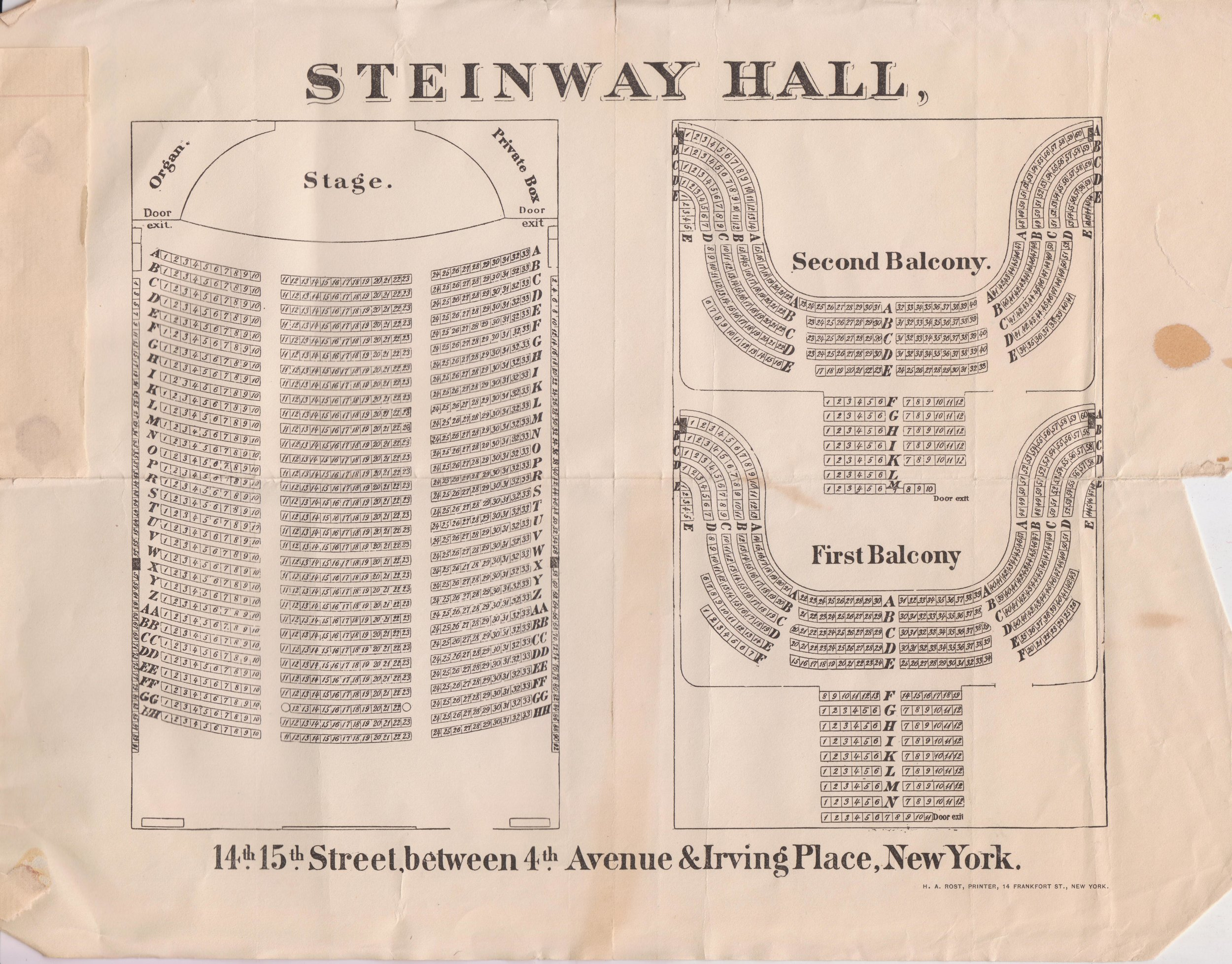 Diagram of the layout of Steinway Hall, undated. Mayor Hugh J. Grant subject files, NYC Municipal Archives.
