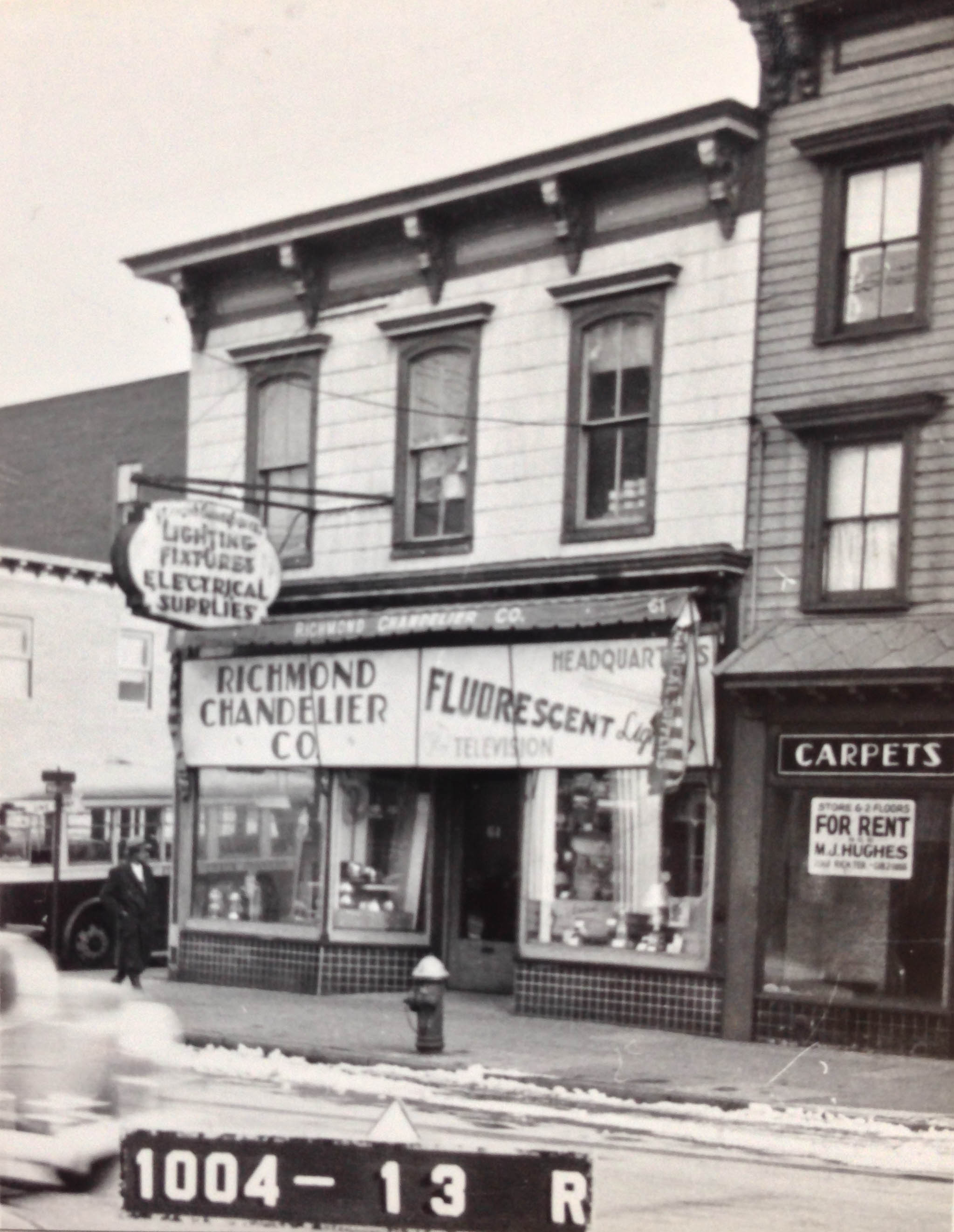 61 Richmond Avenue, Staten Island, circa 1940. Richmond Chandelier opened in 1926, selling lighting fixtures and electoral supplies, and is still there today.Department of Finance Collection, NYC Municipal Archives.