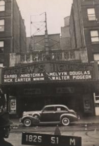 "Loew's 116 in Harlem seen here in the 1940's with a marquee advertising the 1939 movie ""Ninotchka"" starring Greta Garbo."