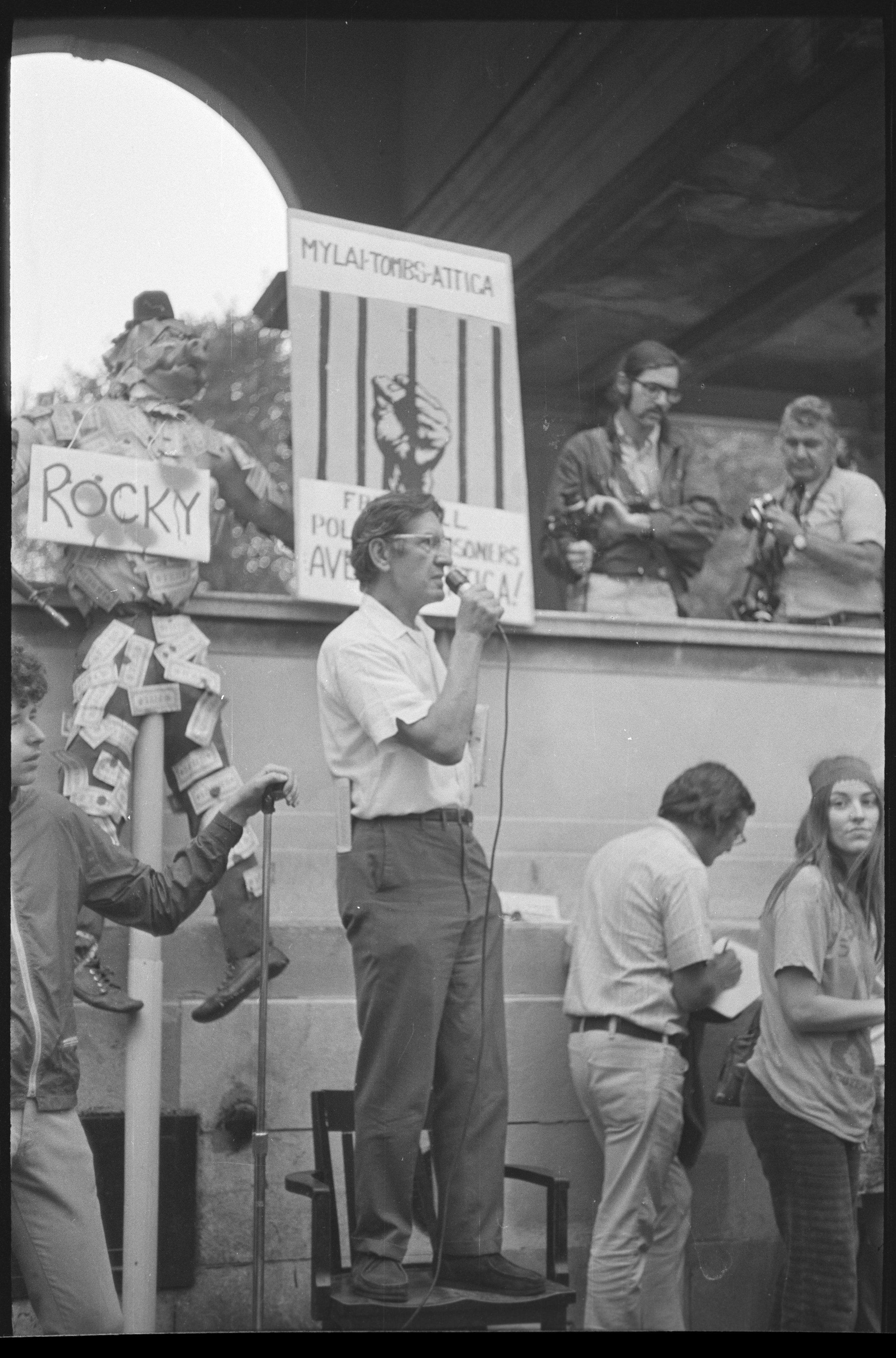 Demonstration scene at Rockefeller Plaza at Park Avenue and 17th Street, September 18, 1971