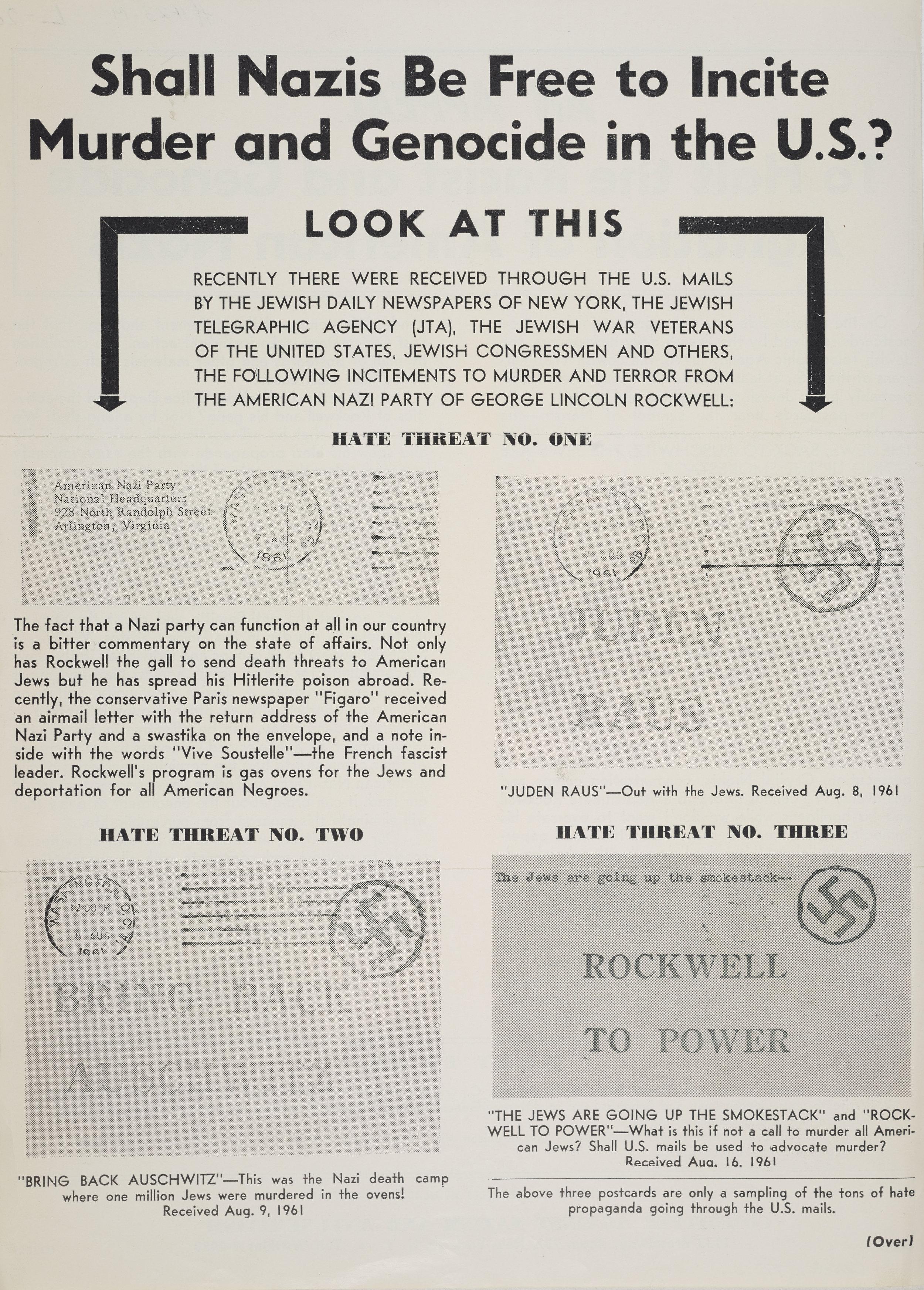 Anti-Nazi advertisement, 1961