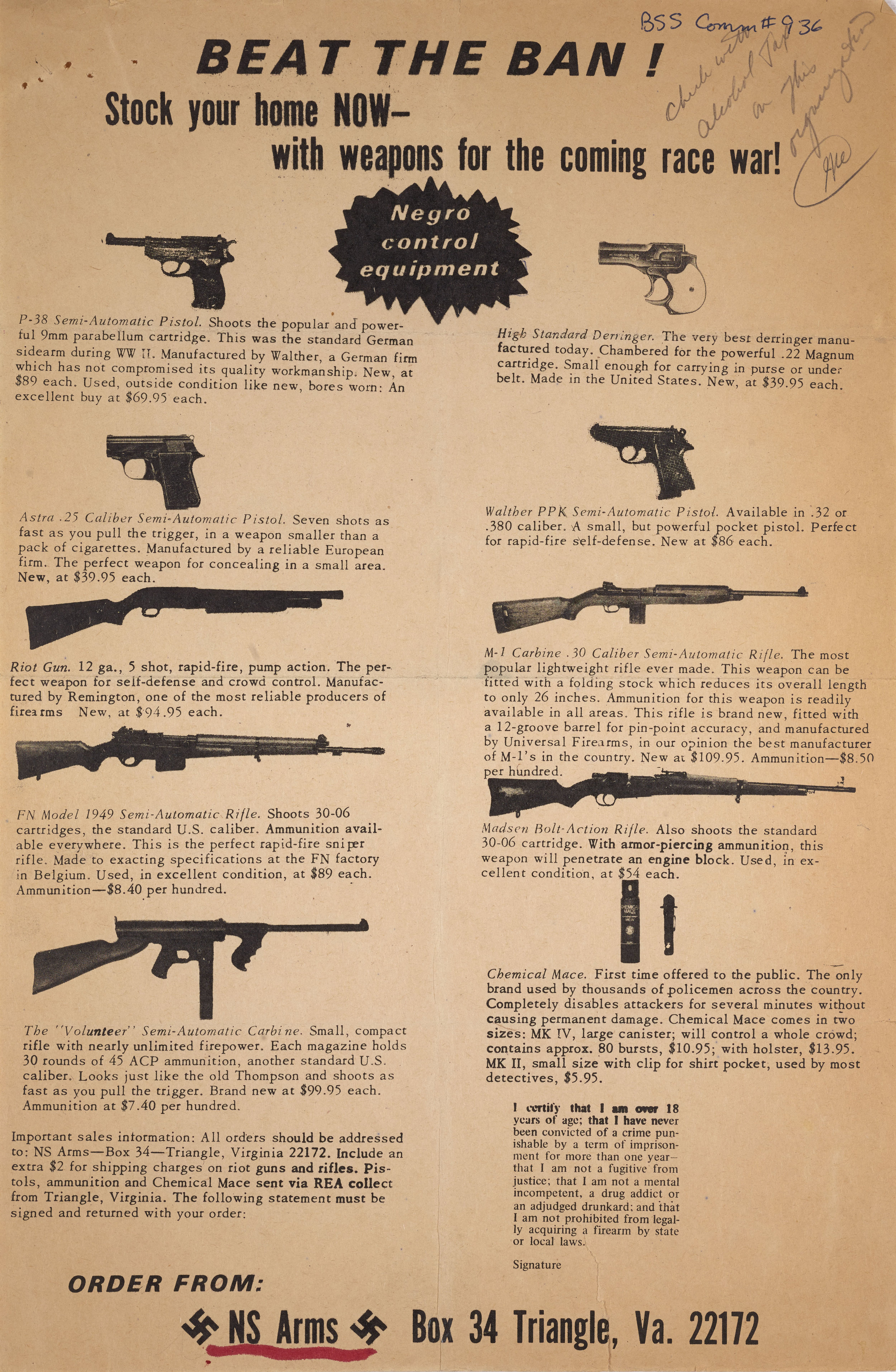 Advertisement for weapons