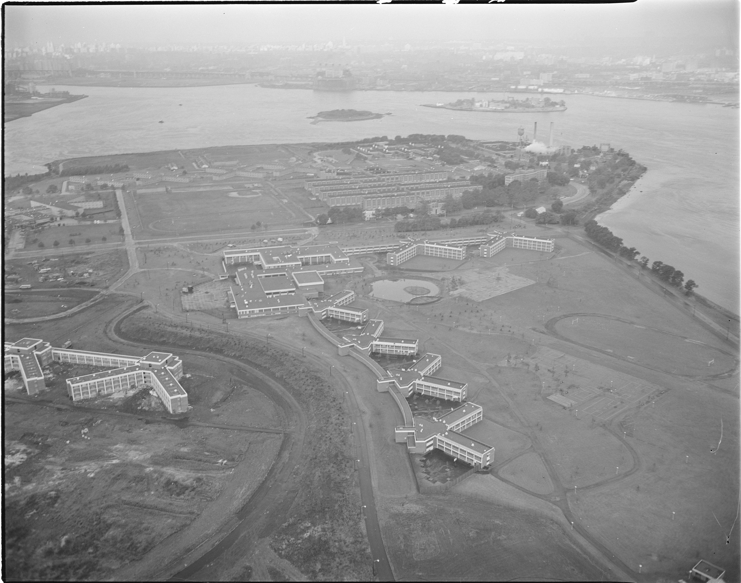 Aerial view of Rikers Island, undated