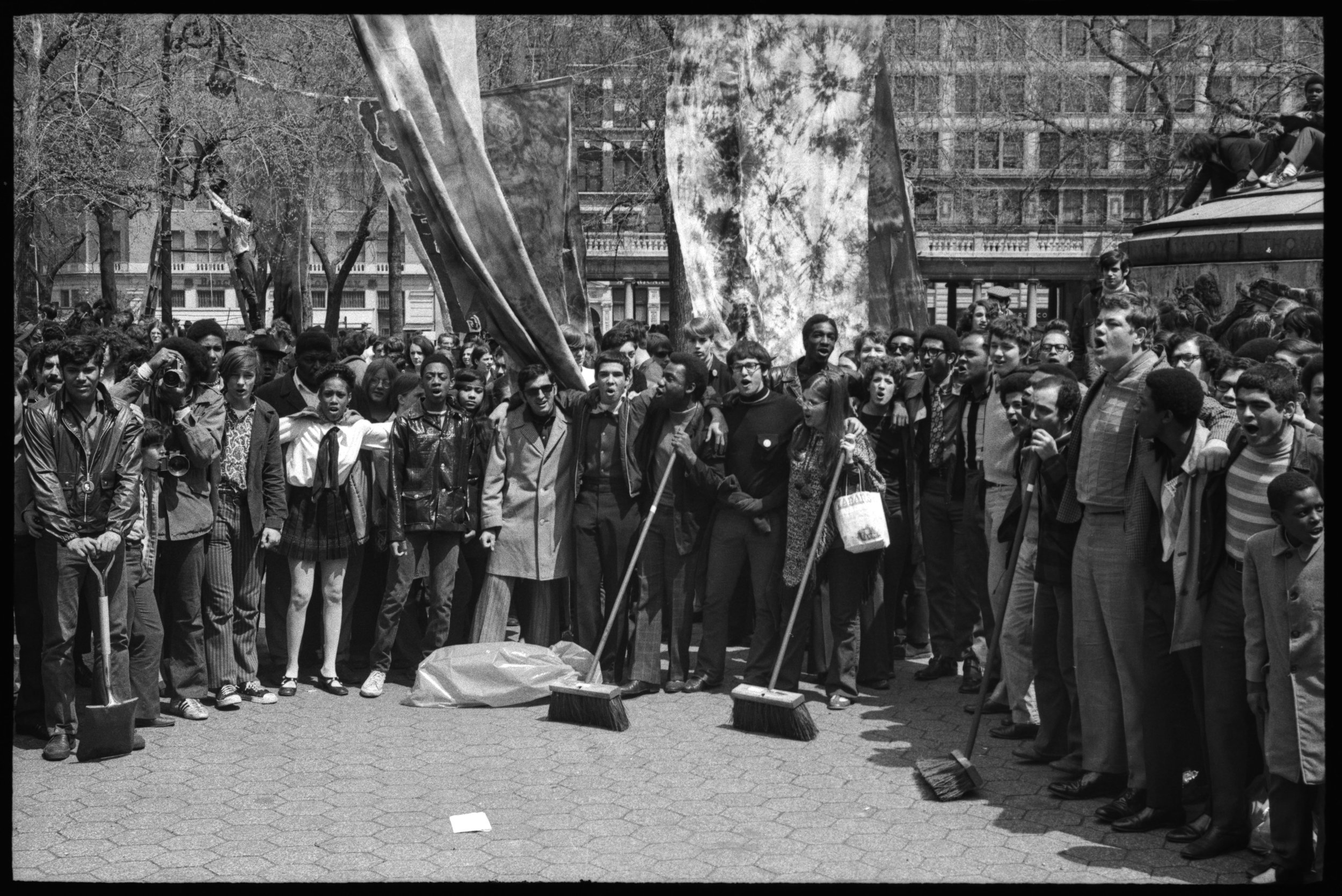 Sweepers at Earth Day demonstrations at Union Square, April 22, 1970