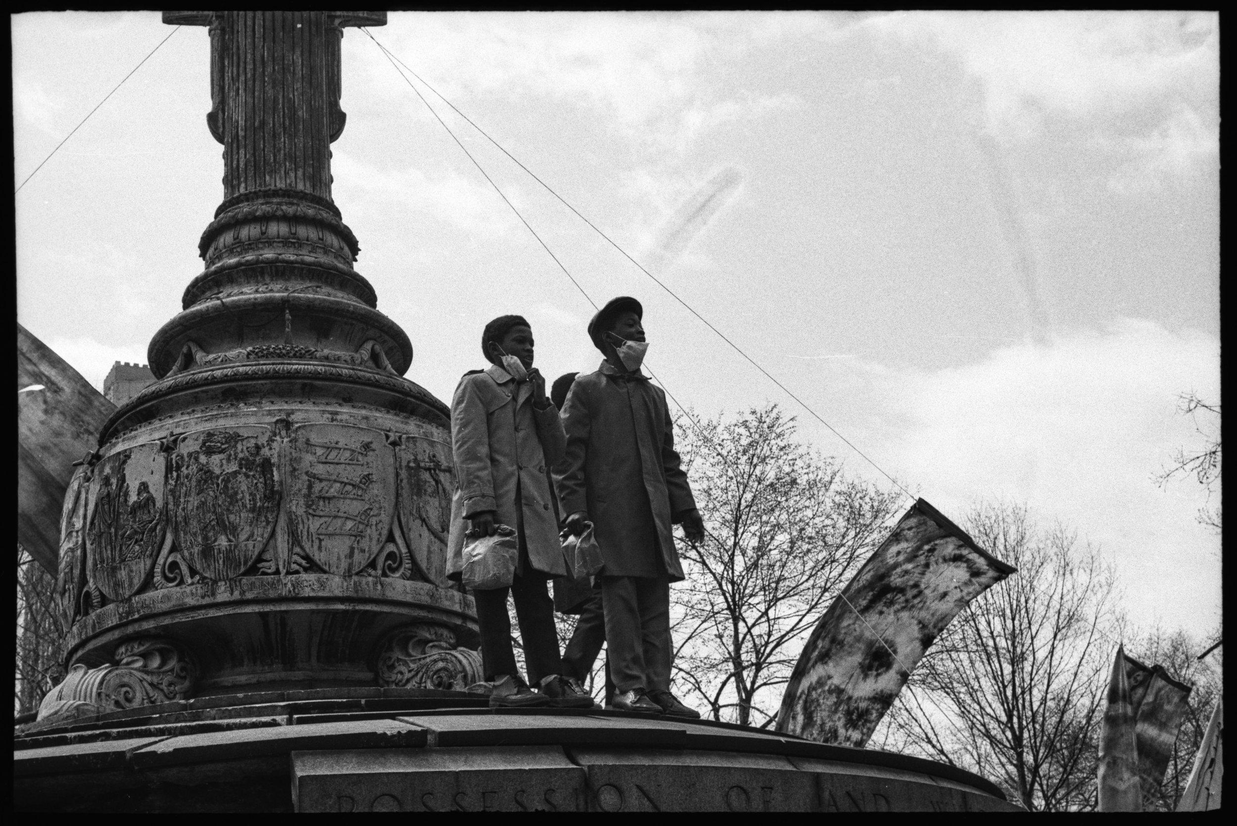 Boys on Independence Monument, Washington Square Park, April 22, 1970
