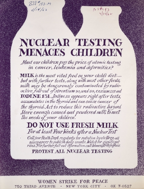 Nuclear Testing Menaces Children, April 14, 1962   - A study performed by Dr. Louise Reiss on babies' teeth from 1959 to 1961 showed that radioactive fallout was polluting the food supply and chemicals such as Strontium-90 appeared in high levels after nuclear tests. The study influenced the 1963 Nuclear Test Ban treaty. Subsequent to the ban, levels of Strontium 90 declined in babies' teeth.