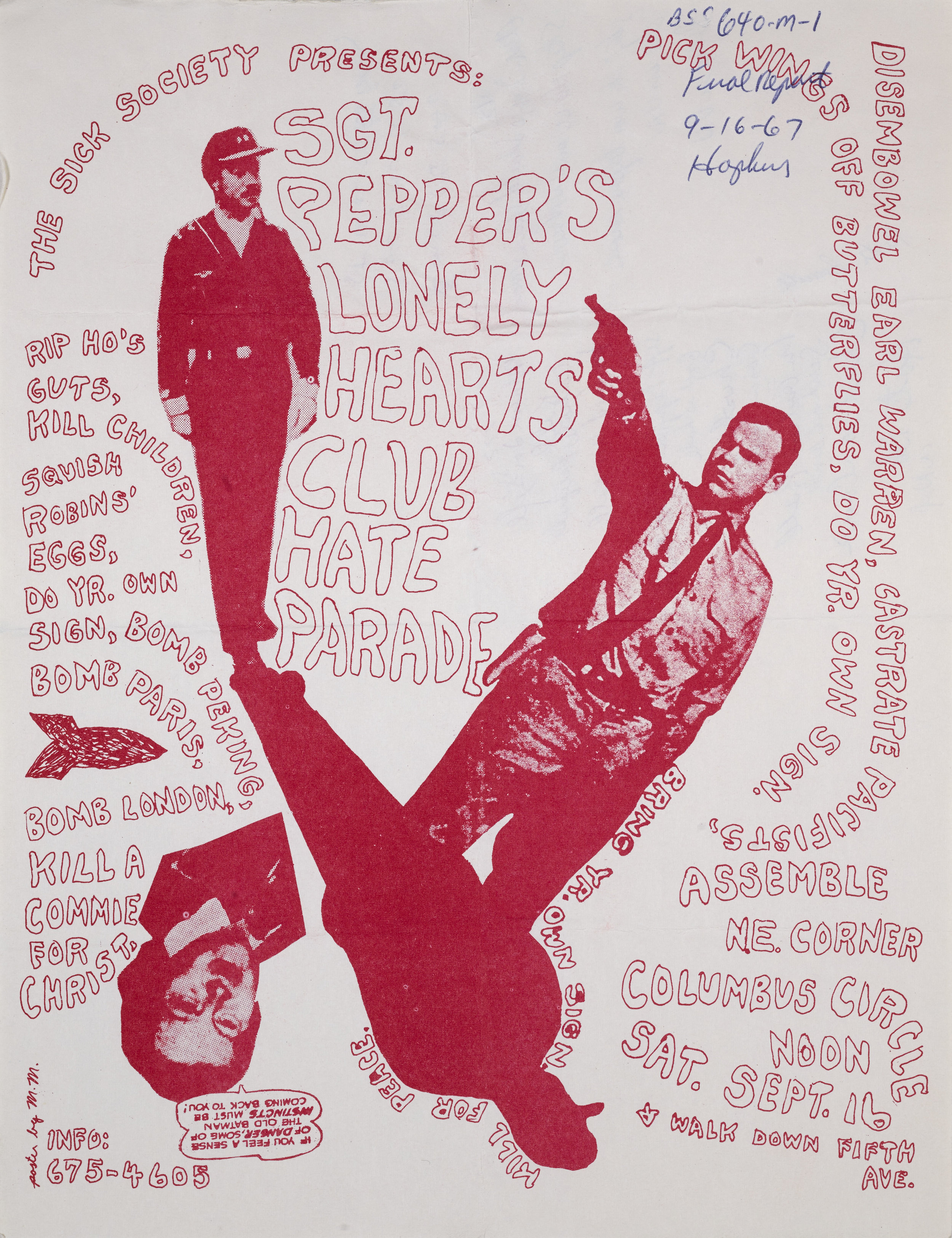 Sgt. Pepper's Lonely Hearts Club Hate Parade Poster, September 19, 1967