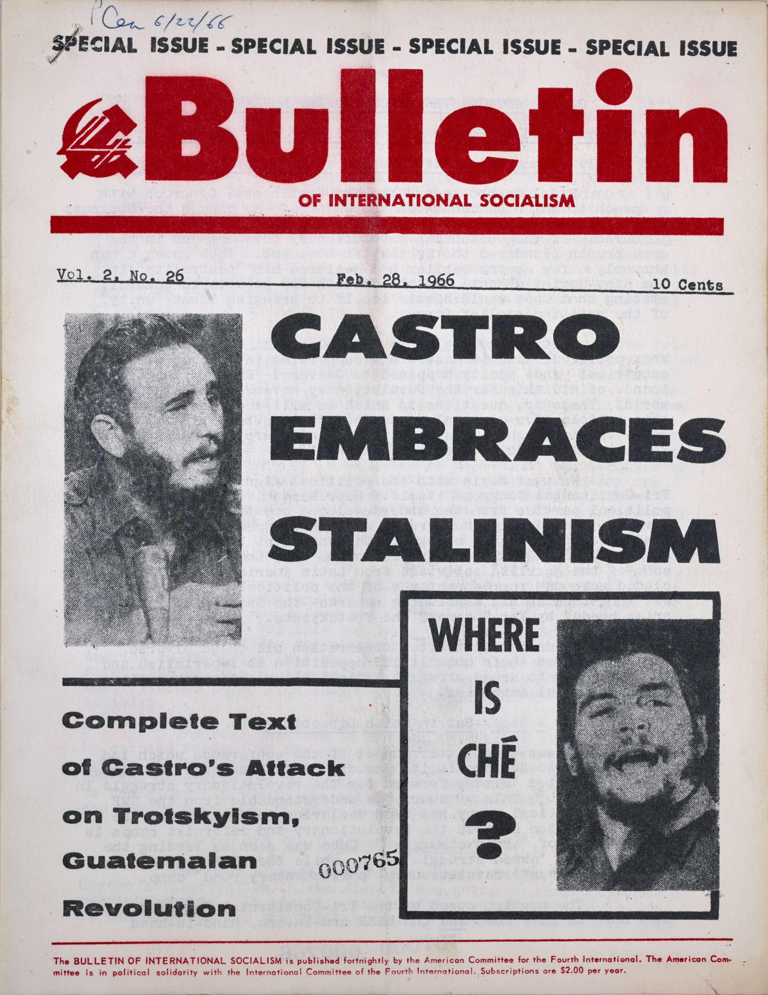 Bulletin of International Socialism, Castro Embraces Stalinism, February 28, 1966