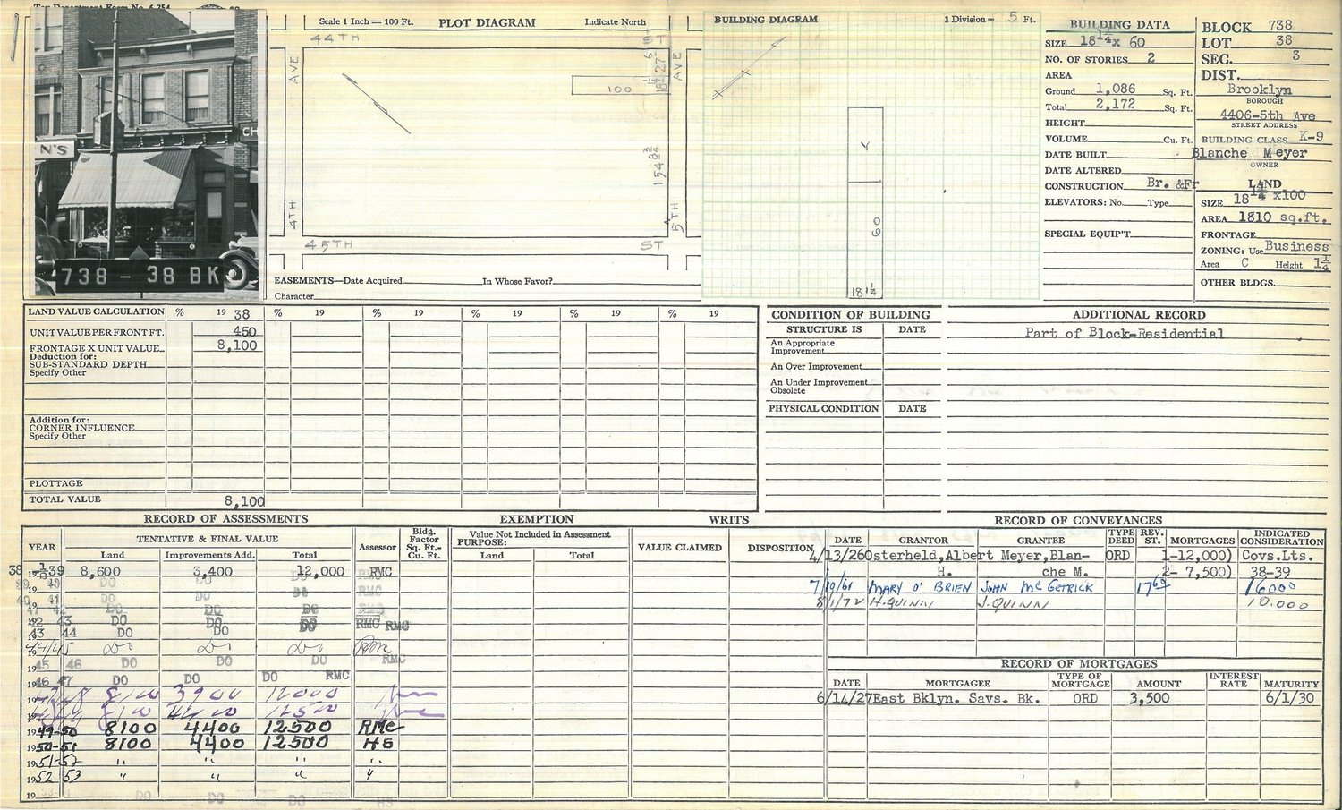 Tax form showing historical information about the building, and a ca. 1940 photograph, NYC Municipal Archives. The Lot number on the form is wrong, and the facade of the building was changed, but this is the same building, built in 1926.