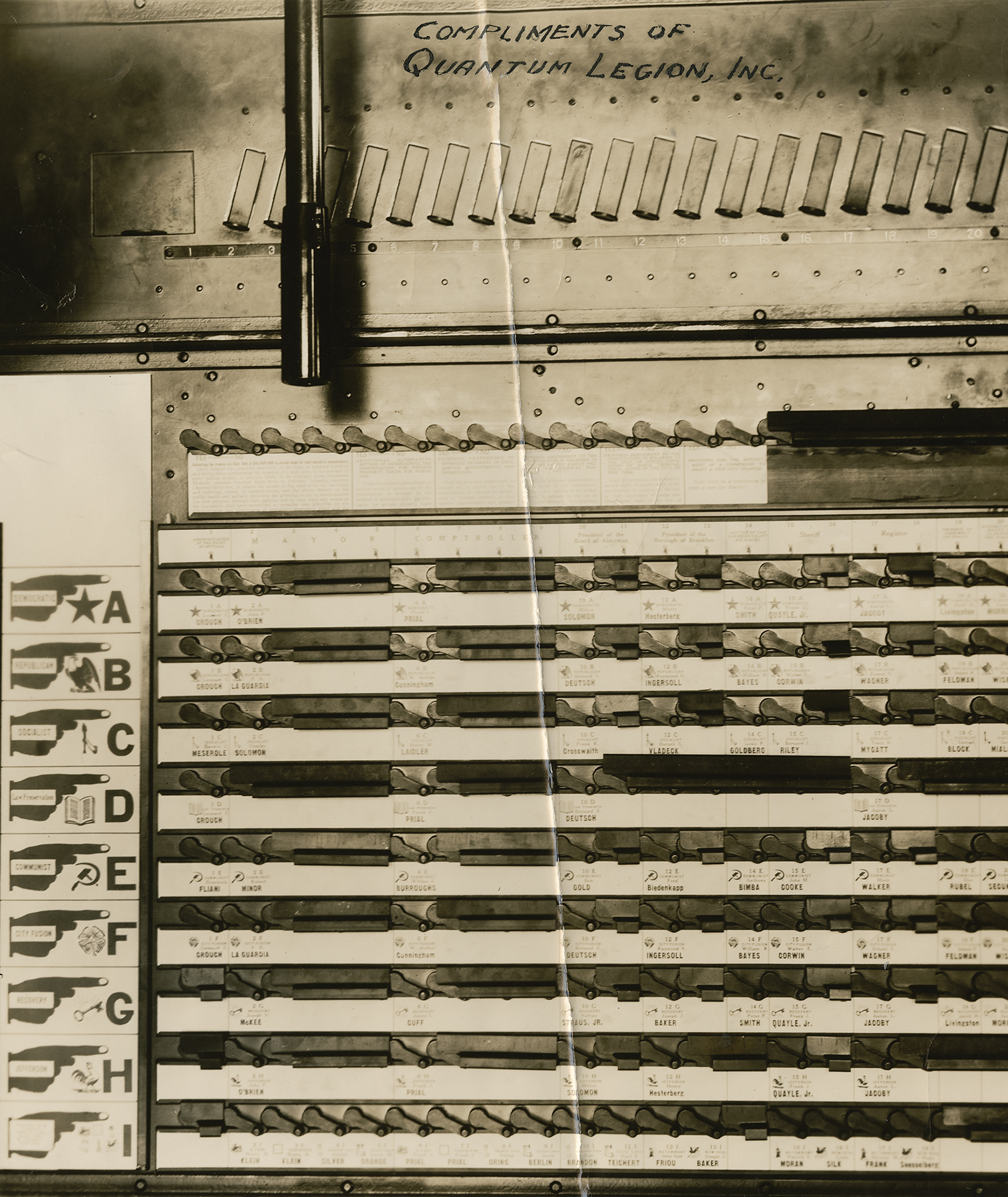 Interior of NYC voting booth, 1933.  Mayor La Guardia papers, NYC Municipal Archives.