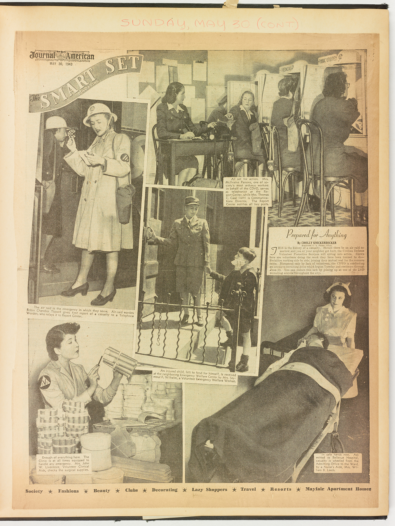 """Prepare for Anything"" A photo spread from the Sunday before the Volunteer Drive kick off.  Journal-American , May 30, 1943. Mayor La Guardia Papers, NYC Municipal Archives."