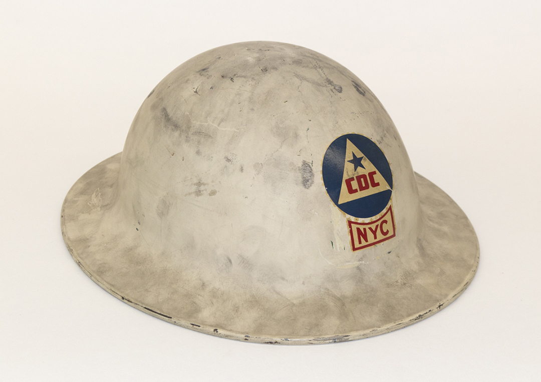 Citizens Defense Corps staff helmet. Mayor La Guardia Papers, New York City Municipal Archives.