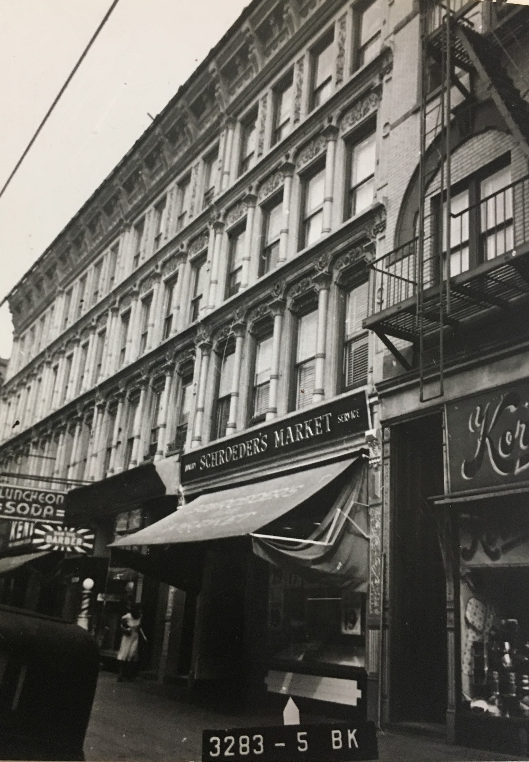 Rose Steven's home, 1235 Broadway in the 1940s with the meat market standing and functional. Department of Finance Collection, NYC Municipal Archives.