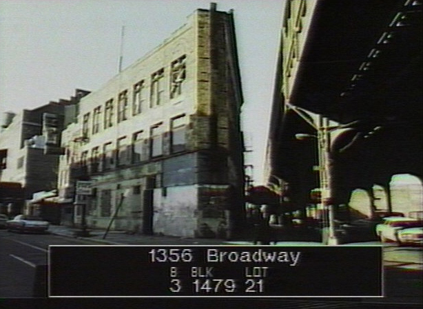 1356 Broadway shown as a vacant store front with boarded up windows. Department of Finance Collection, NYC Municipal Archives.