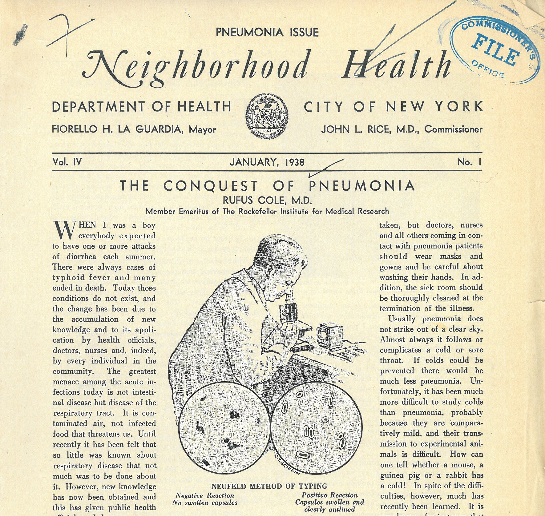 A newsletter produced by the Department of Health. Each newsletter focused on a specific health issue, in this case, pneumonia.