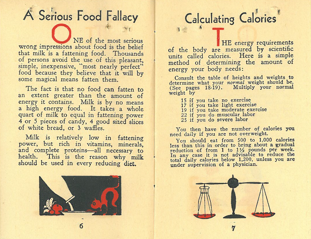 A pamphlet devised by Shirley Wynne (Health Commissioner 1929-1934) describing healthy ways to lose weight. The pamphlet includes weight loss strategies and statistics, as well as average caloric counts for common foods.