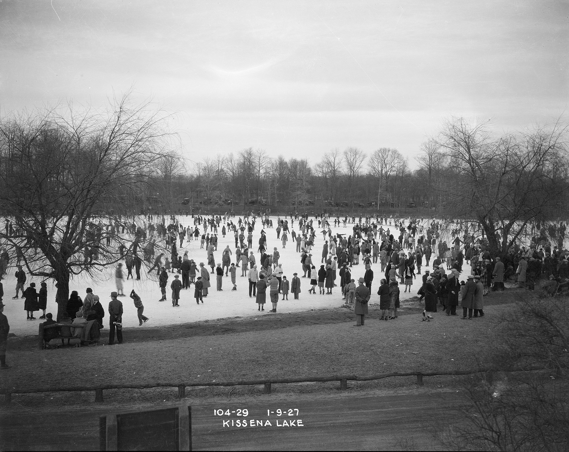People ice skating on Kissena Lake,January 9, 1927. NYC Municipal Archives, Borough President Queens Collection.