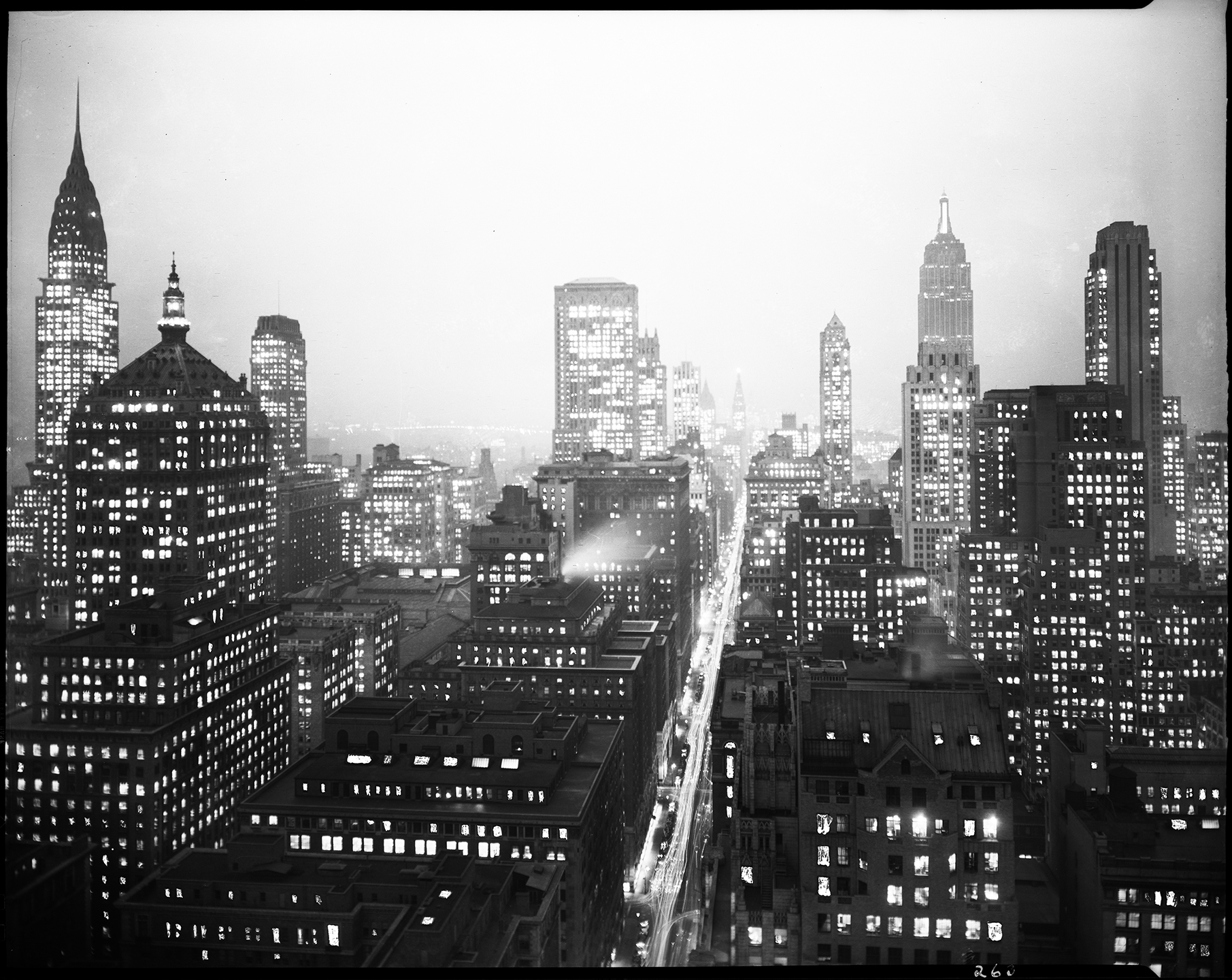 Night View Midtown Manhattan, NYC Municipal Archives.WPA Federal Writers' Project Collection, NYC Municipal Archives.
