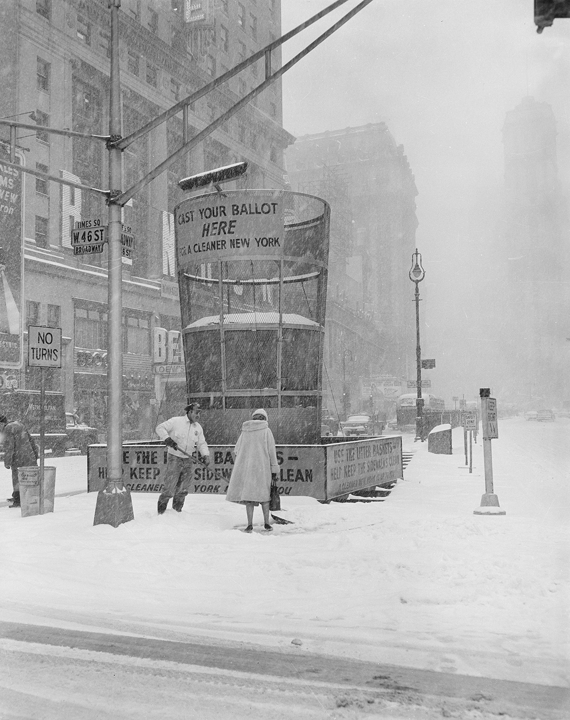 Snow removal from Times Square, March 9, 1960.Department of Sanitation Collection, NYC Municipal Archives.