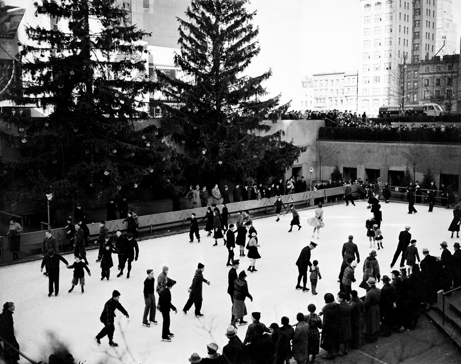 Ice skaters and instructors at Rockefeller Plaza, December 1937. WPA Federal Writers' Project, NYC Municipal Archives.