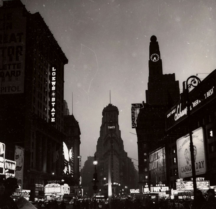 Times Building and Hotel Astor at night, ca. 1937.WPA Federal Writers' Project, NYC Municipal Archives.