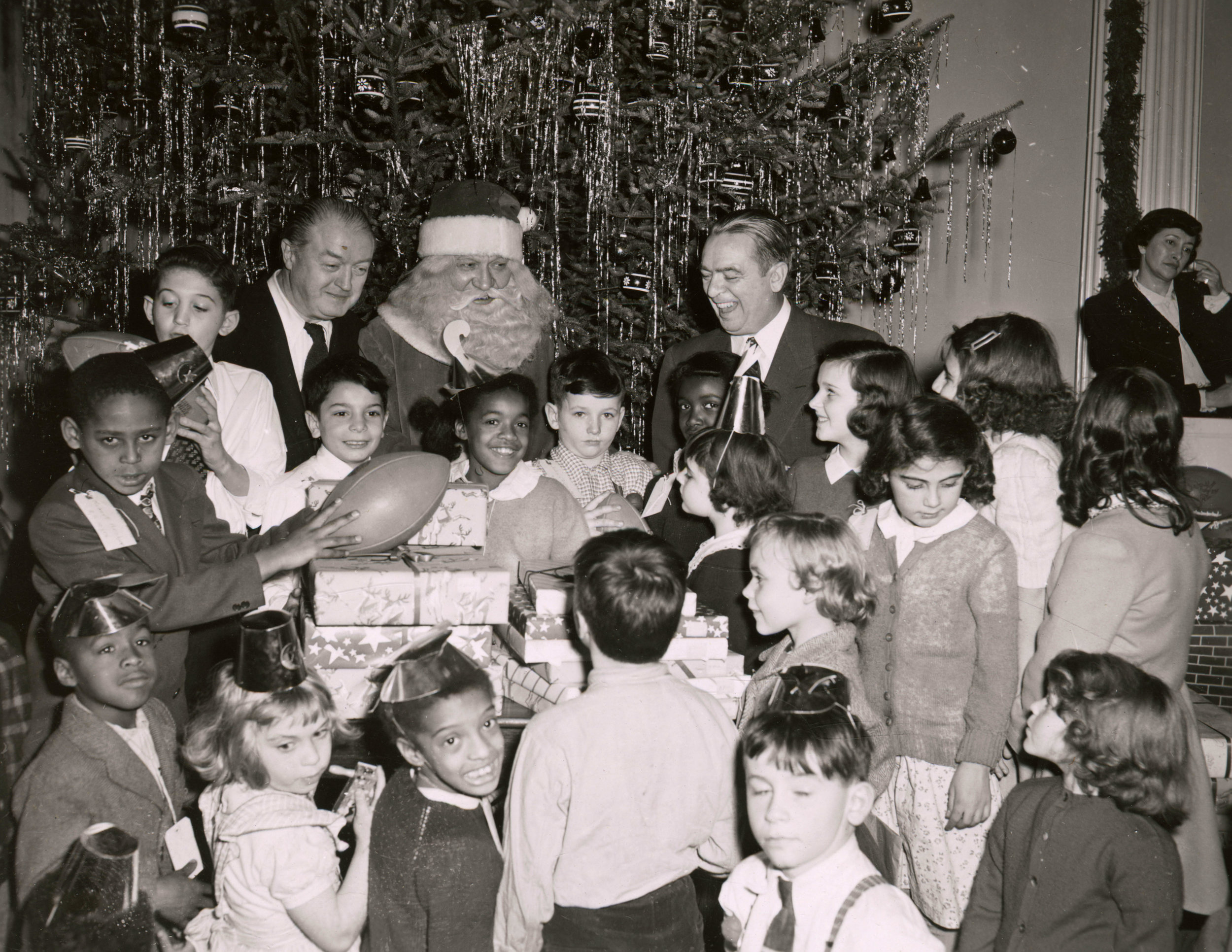 Santa Claus with Mayor O'Dwyer at the City Hall Christmas Party in 1948.Mayor O'Dwyer Collection, NYC Municipal Archives.