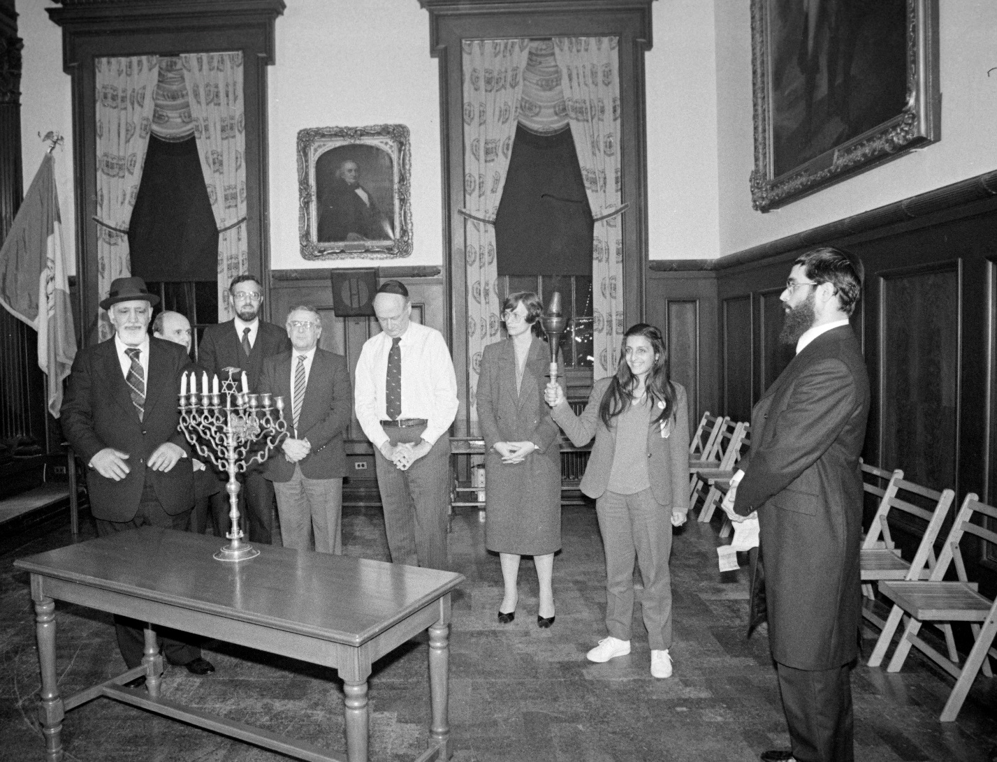 Mayor Koch participates in a Chanukah ceremony in the City Council Chambers on December 13, 1982. Mayor Koch Collection, NYC Municipal Archives.