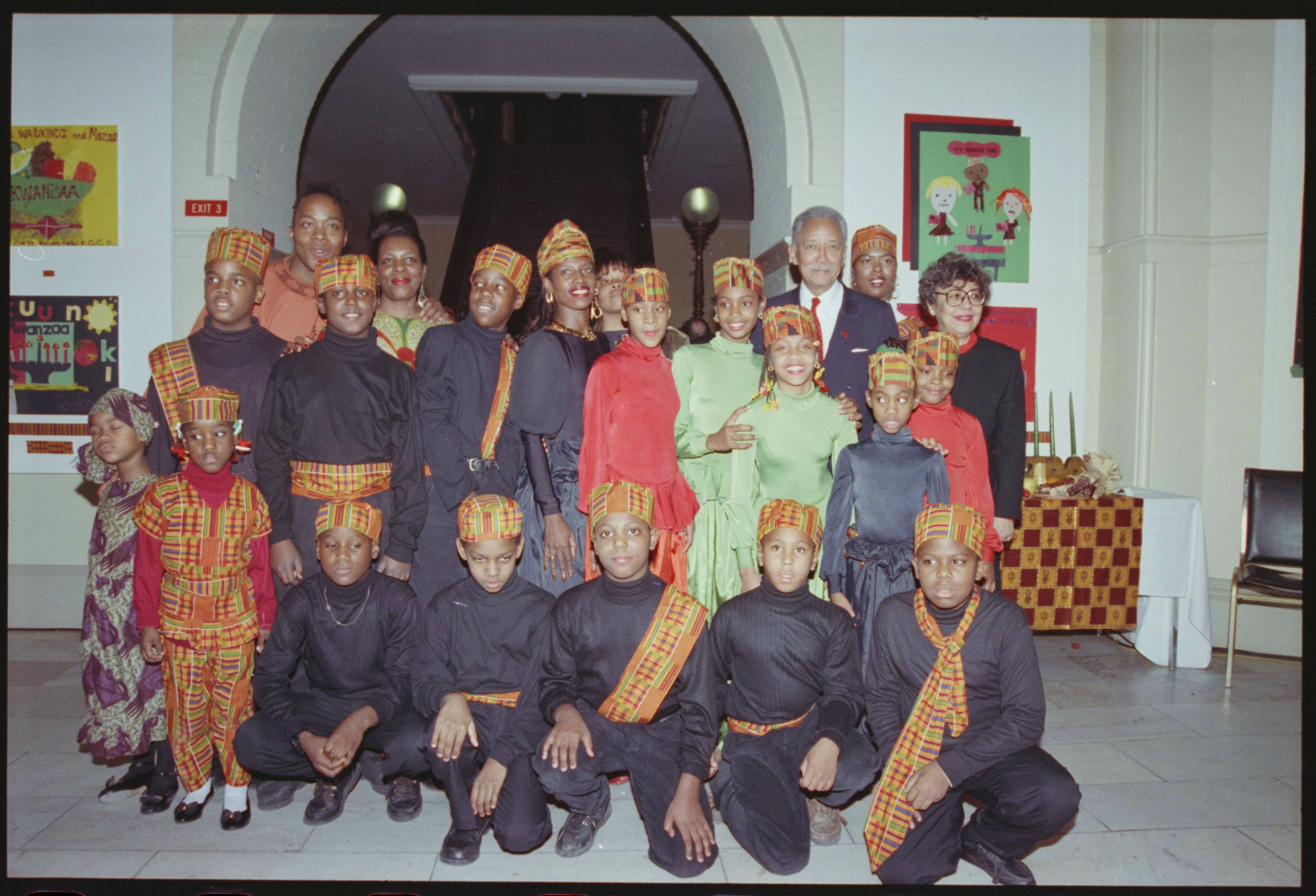 Kwanzaa takes place over 7 days from December 26th to January 1st, and celebrates 7 principles of African heritage. On December 28, 1992 Mayor Dinkins celebrated Kwanzaa with children from the Harlem School of the Arts and the Brownsville Child Development Center. Mayor Dinkins Collection, NYC Municipal Archives.
