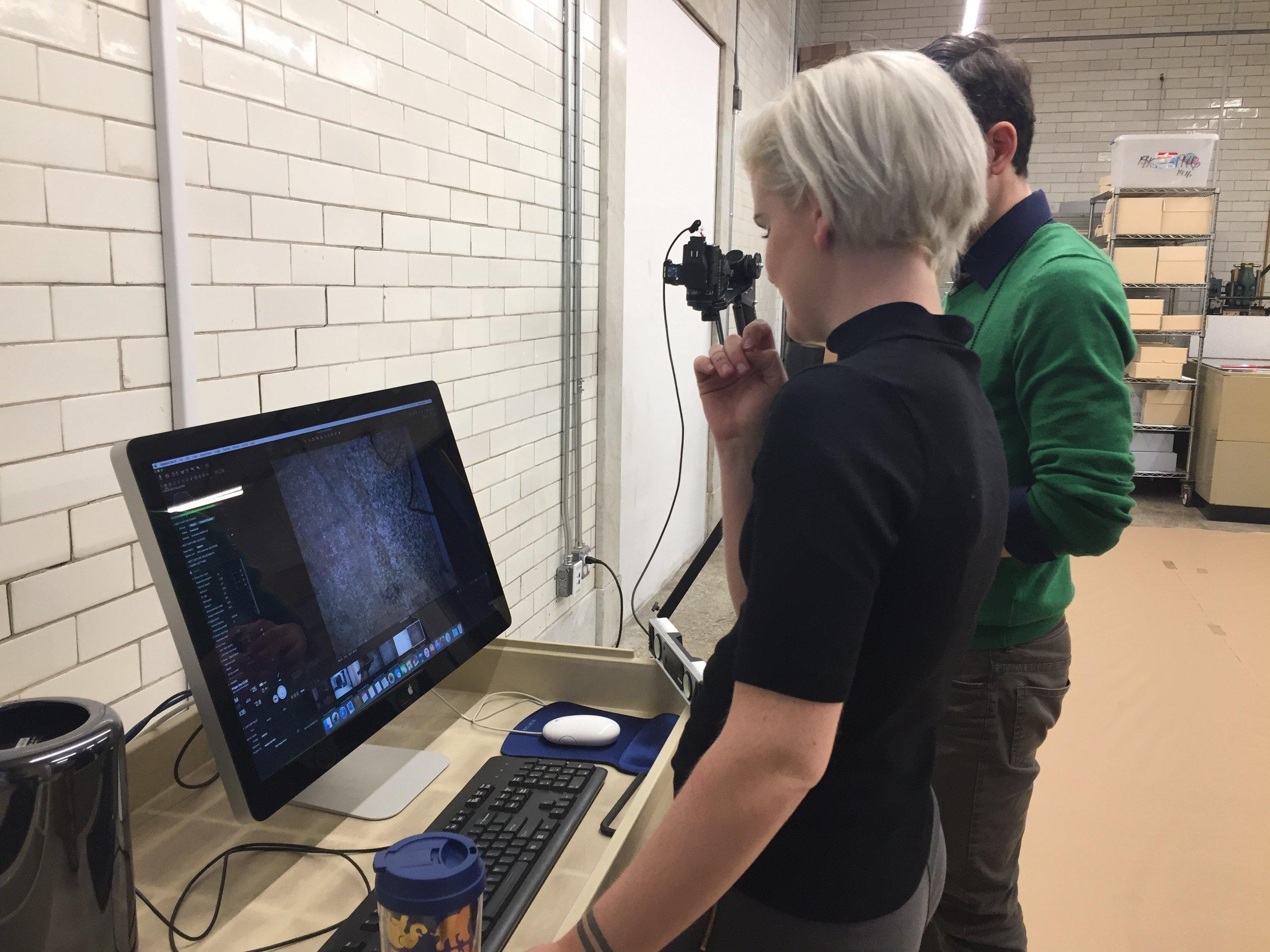 Our digitization team viewing test shots