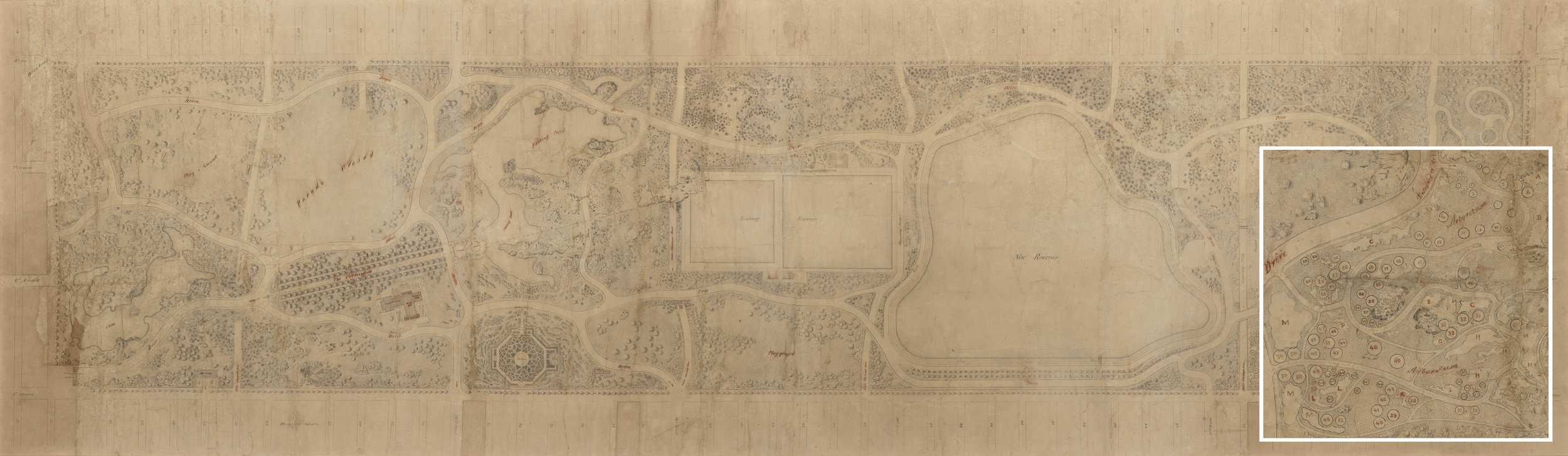 The Greensward Plan with magnified section.The northeast corner of the park was originally designed as an arboretum highlighting American trees and shrubs. Some items included in the plan, like the formal garden left of center, were requirements of the design competition, but not the style of Olmstead and Vaux. They were excluded from the final plans.