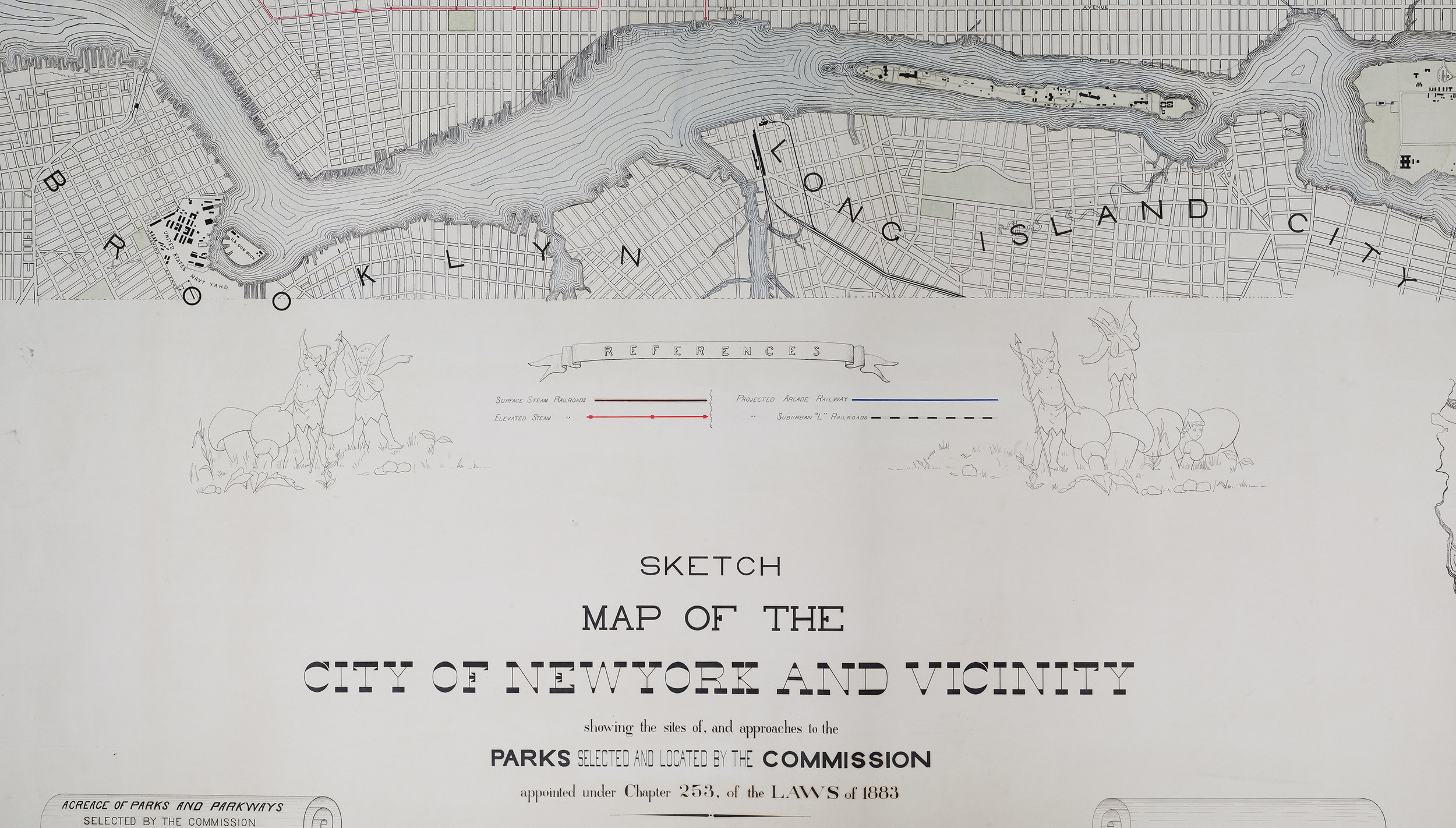 Map of the City of New York and Vicinity, showing approved parks from 1883