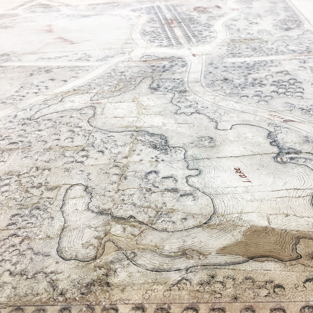 Detail showing the condition of the Central Park Greensward Plan. Some of the repairs were probably done in the 1930s.