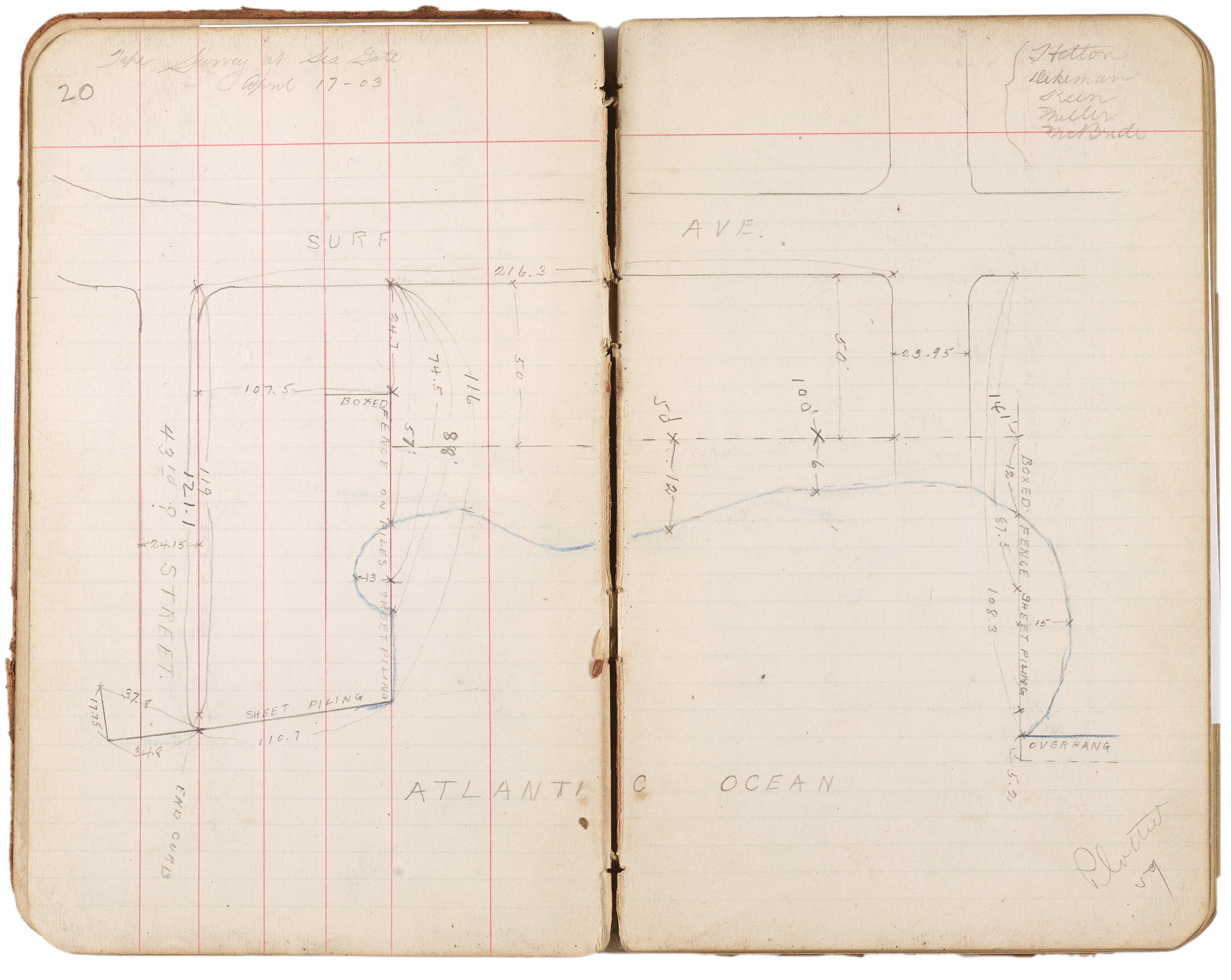 This small map was drawn on April 17, 1903 and is contained in the first notebook pictured above. The names of the survey team are visible in the top right corner. It depicts a section of Seagate right along Surf Avenue. Department of Ports and Trade Collection, NYC Municipal Archives.