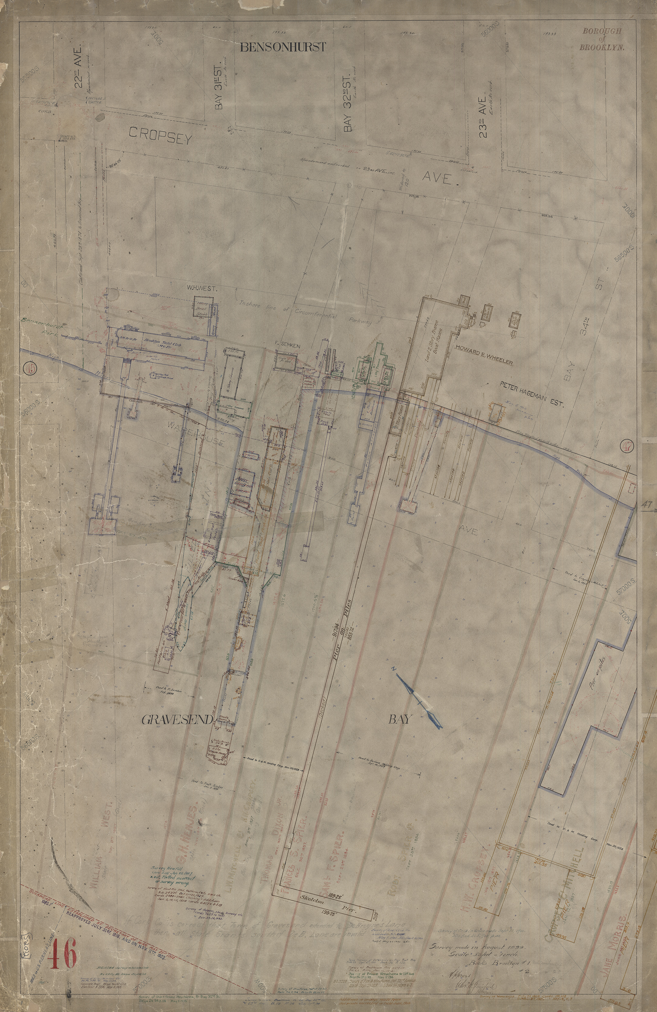Waterfront Survey Map #2032 - Brooklyn Red Survey Map 46, Bensonhurst/Gravesend Bay, August, 1899, updated through the 1960s.. Department of Ports and Trade Collection, NYC Municipal Archives