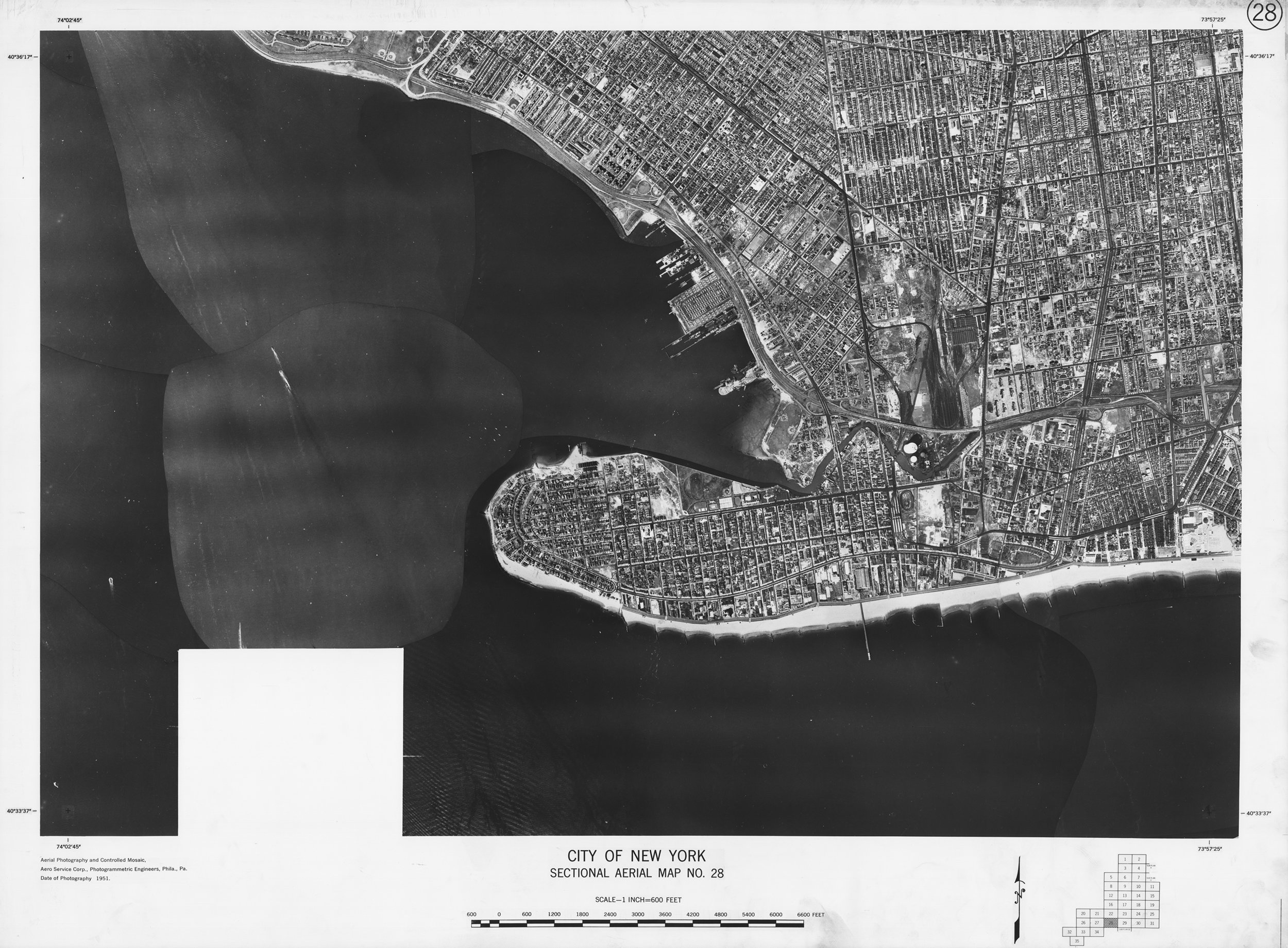 Sectional Aerial Map of the City of New York, No. 28, Coney Island, Gravesend, Brooklyn, 1951. Aero Service Corp. NYC Municipal Archives.
