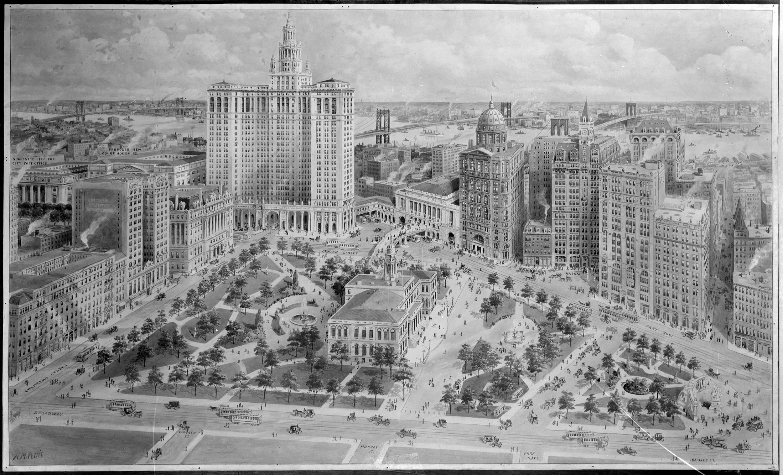 This rendering from 1915 showing new civic center improvements included the destruction of the Tweed Courthouse. The destruction of Tweed was a pet project of civic leaders for at least six decades. It is now a landmarked building. H.M. Pettit. Department of Bridges/Plant & Structures collection, NYC Municipal Archives.