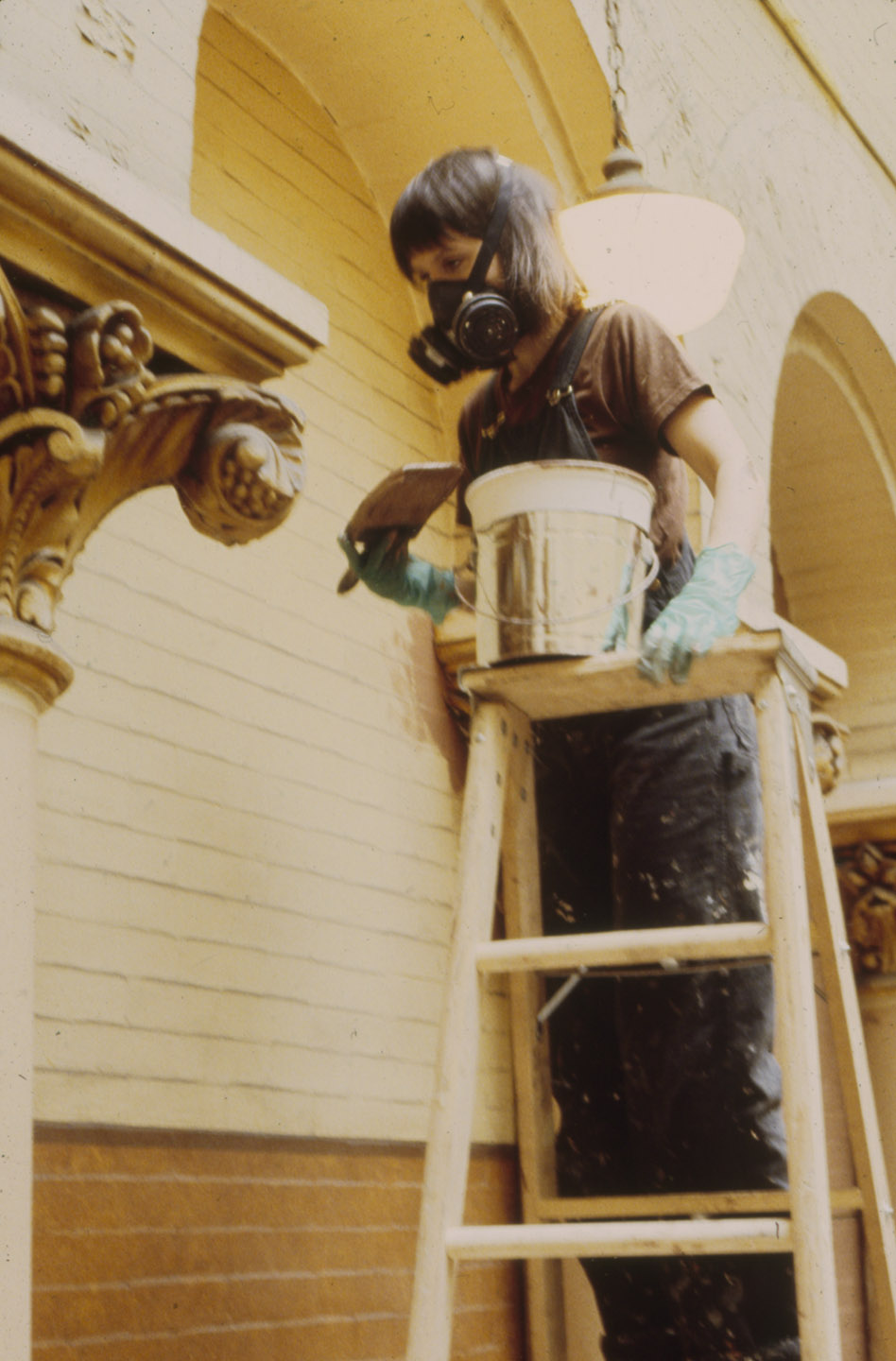 Painting the columns for  The Verdict . Photo by Kenneth R. Cobb.