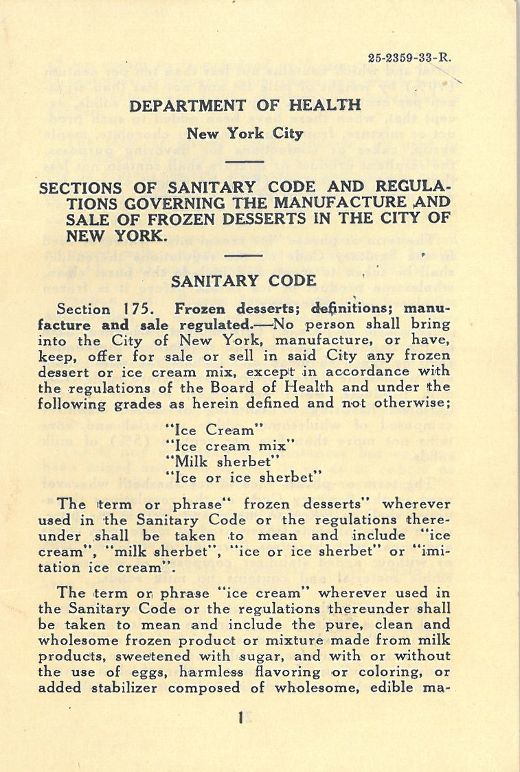 New York City Sanitary Code regarding categorization of frozen desserts, 1933.Department of Health collection, NYC Municipal Archives.