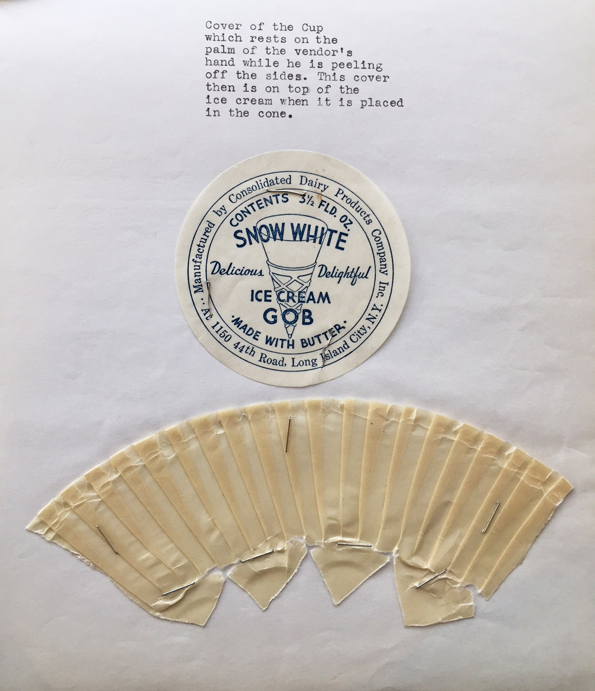 Ice cream wrapper sent to Department of Health by manufacturer in 1941.Department of Health collection, NYC Municipal Archives.
