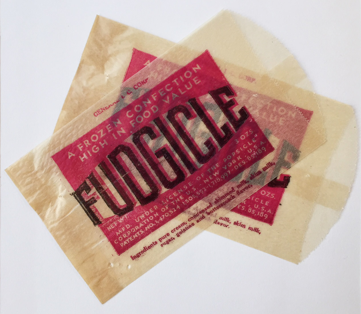 Fudgicle wrapper sent to Department of Health in 1933.Department of Health collection, NYC Municipal Archives.